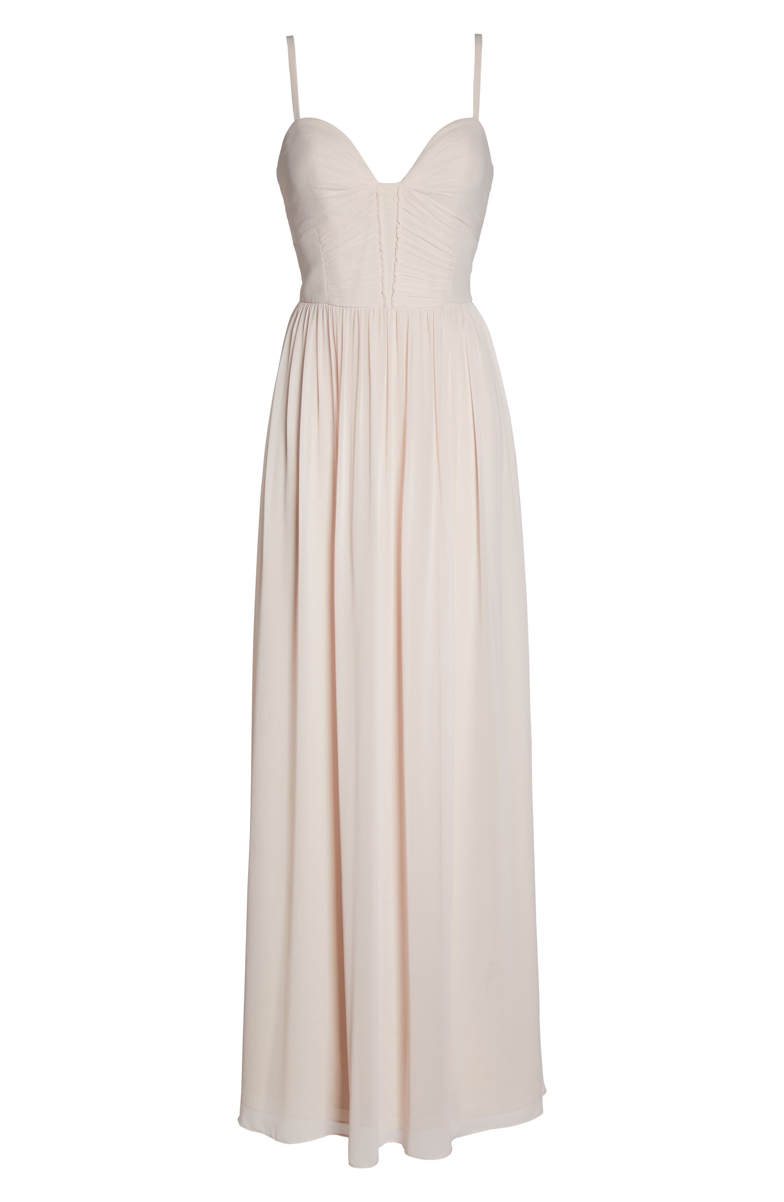 Ruffle Detail A-Line Chiffon Gown,                             Alternate thumbnail 6, color,                             DUSTY ROSE