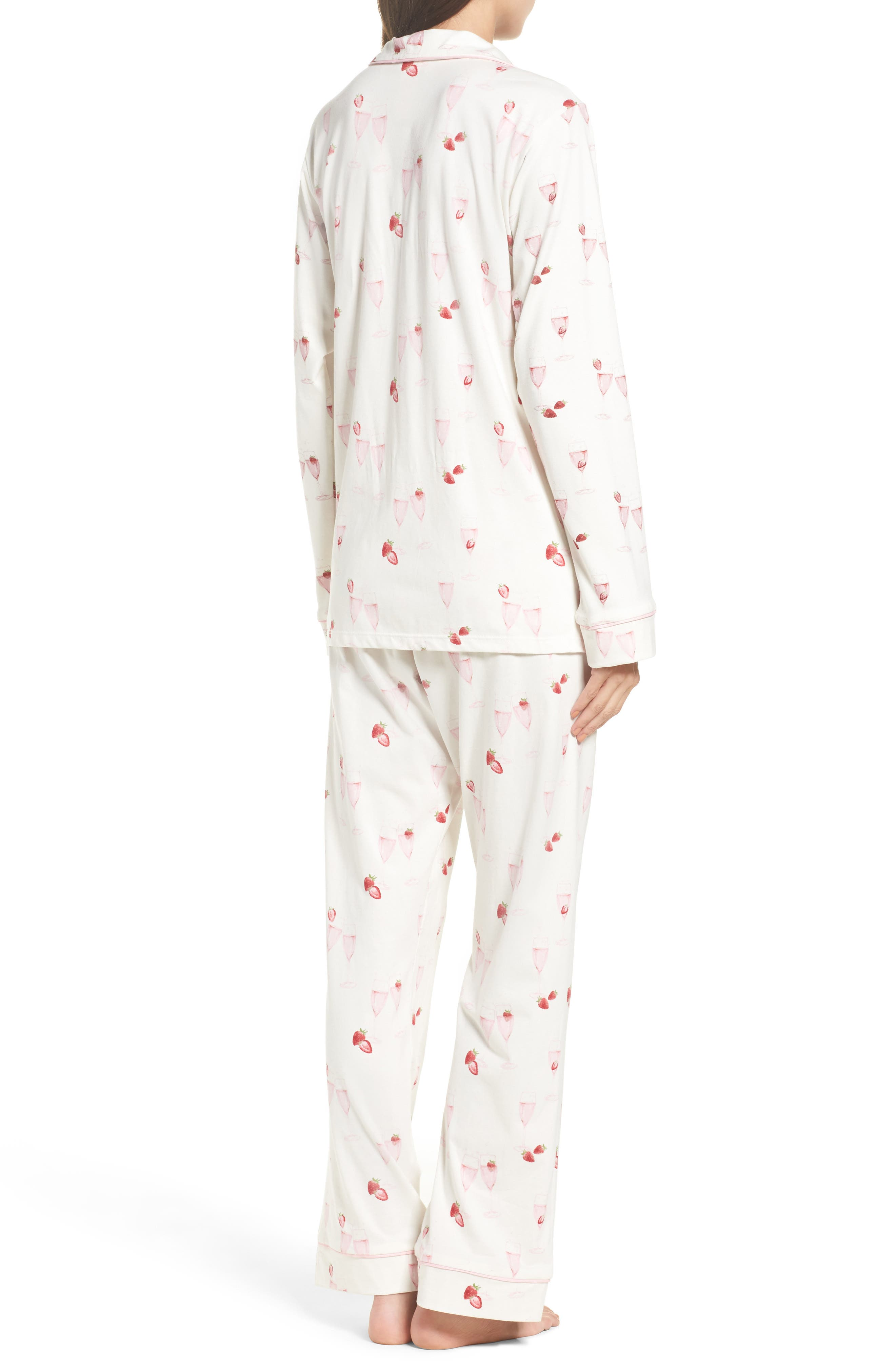 Strawberries & Champagne Print Pajamas,                             Alternate thumbnail 2, color,