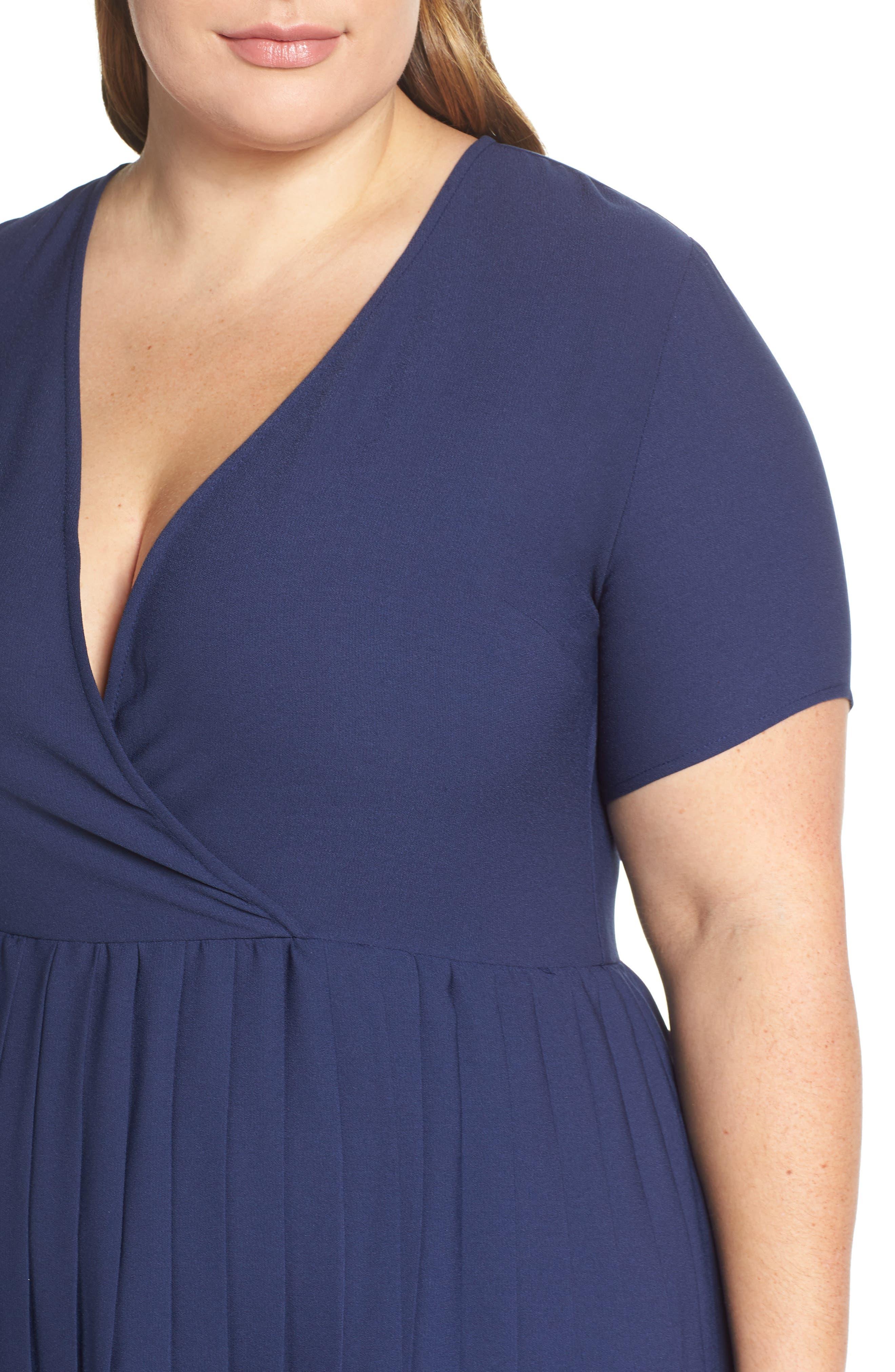LEITH,                             Pleated Surplice Dress,                             Alternate thumbnail 11, color,                             NAVY PEACOAT