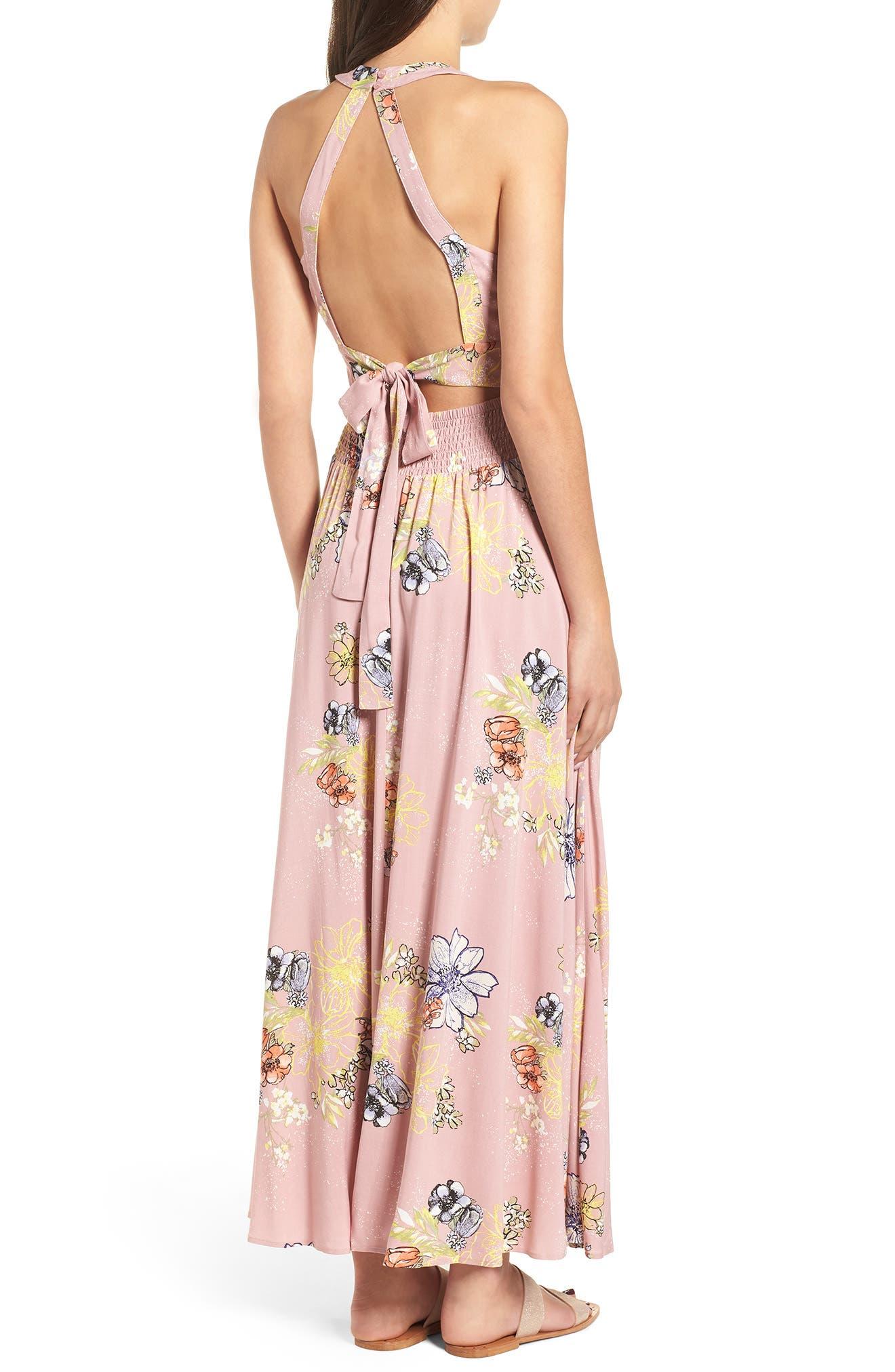 Floral Print Halter Maxi Dress,                             Alternate thumbnail 2, color,                             PINK EGRET ABSTRACT FLORAL
