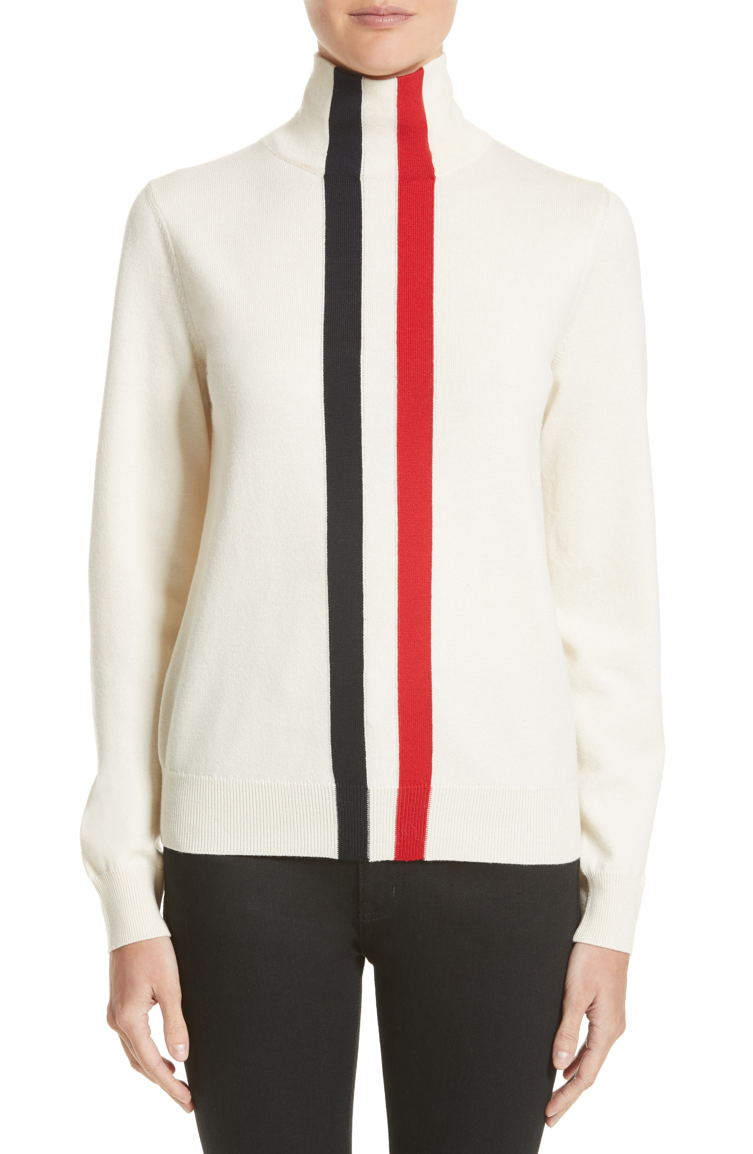 Moncler Ciclista Tricot Knit Sweater, Ivory