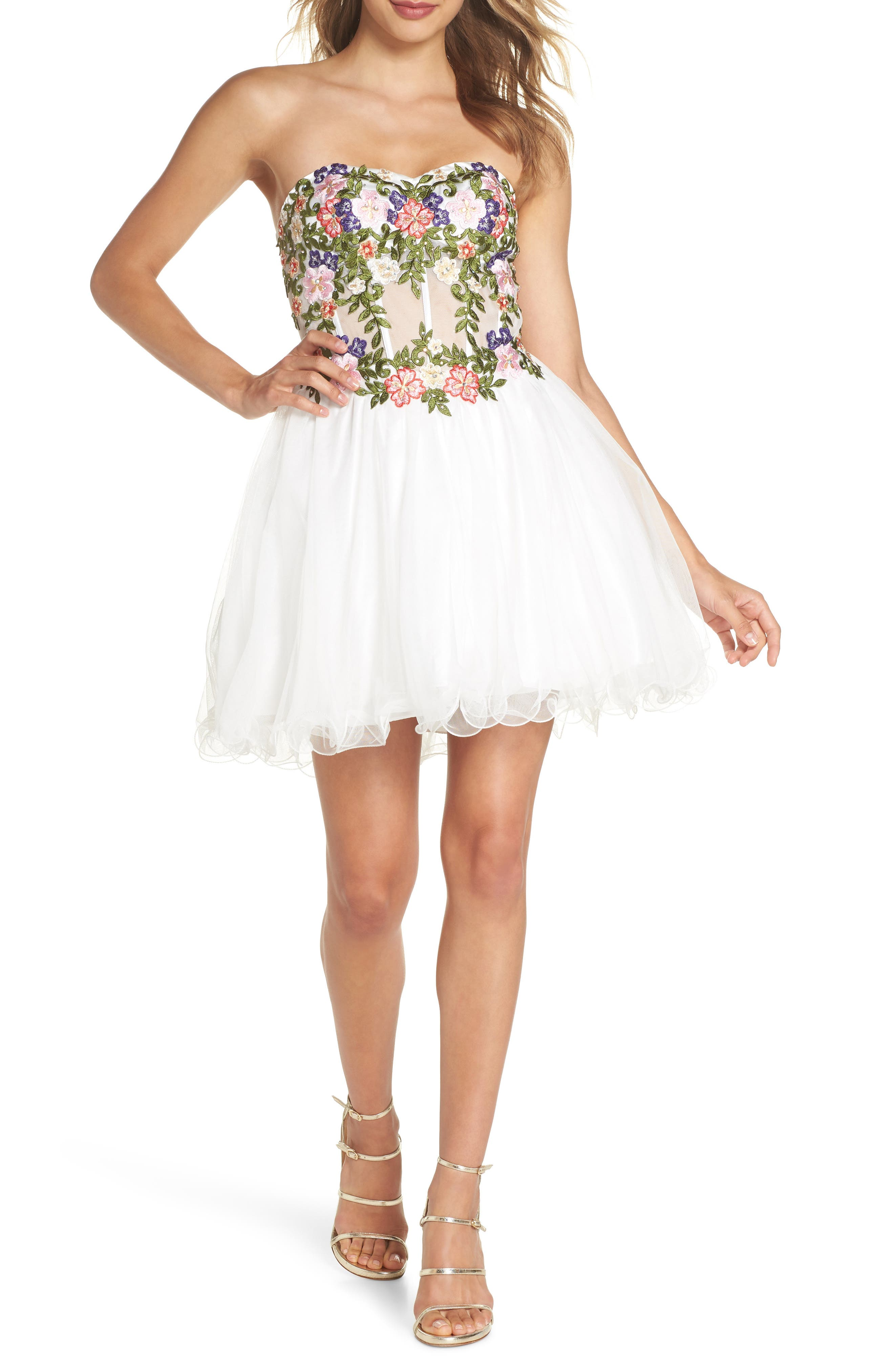 Embroidered Lace Fit & Flare Dress,                         Main,                         color, IVORY/ MULTI
