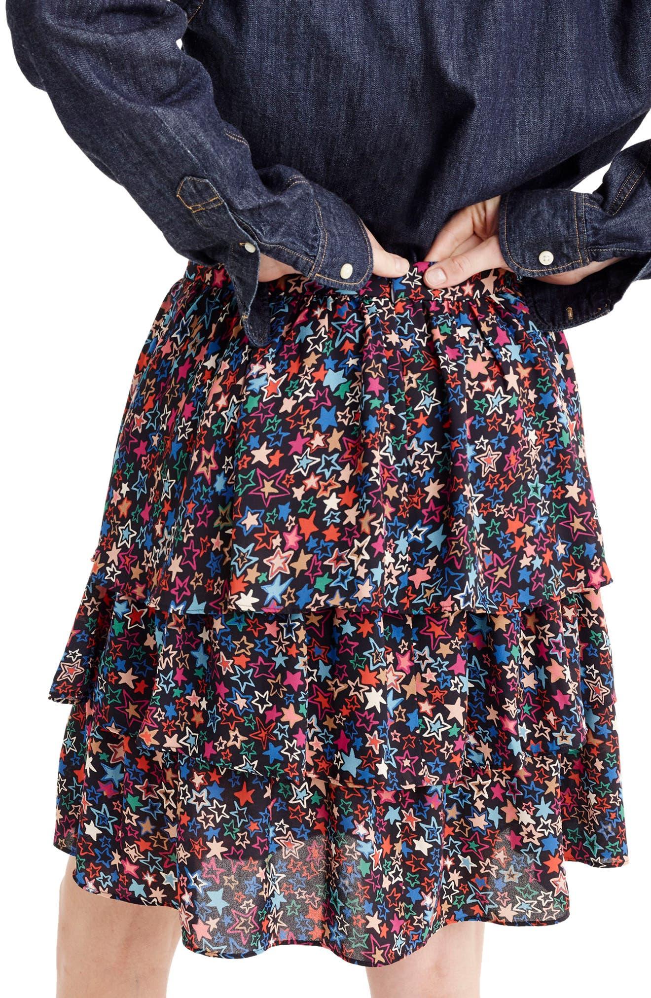 J.CREW,                             Star Print Tiered Skirt,                             Alternate thumbnail 2, color,                             409