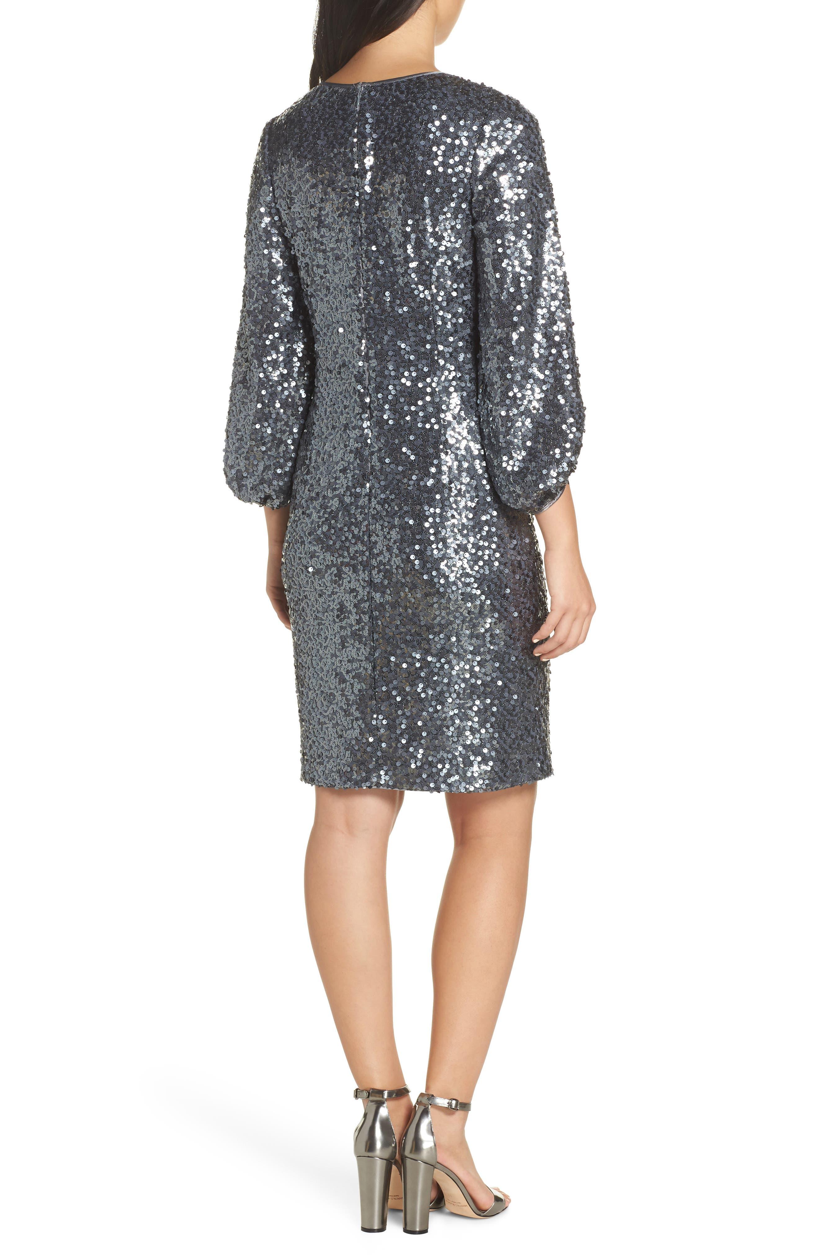 Blouson Sleeve Sequin Sheath Dress,                             Alternate thumbnail 2, color,                             GREY