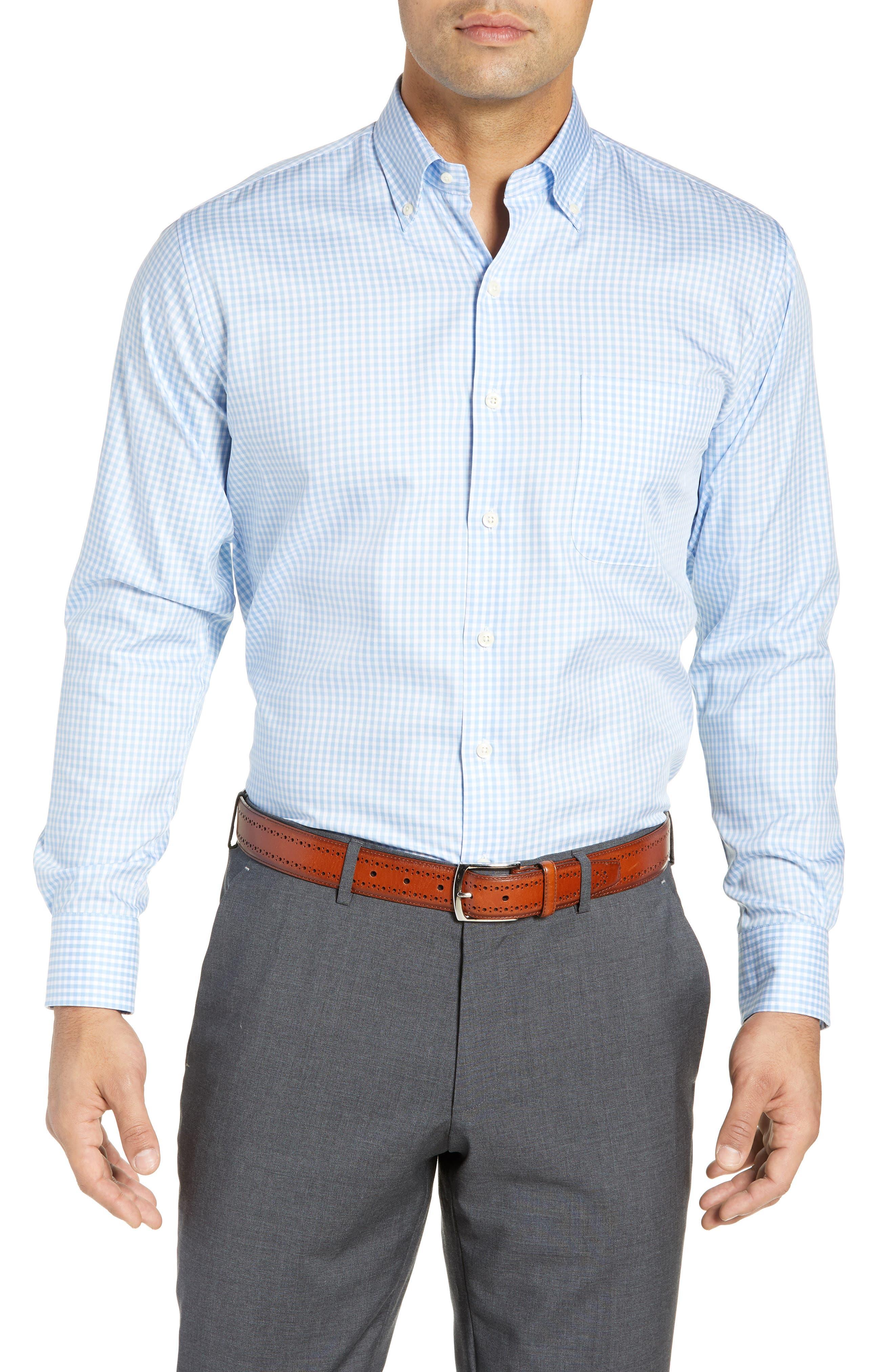 Crown Soft Gingham Regular Fit Sport Shirt in Cottage Blue