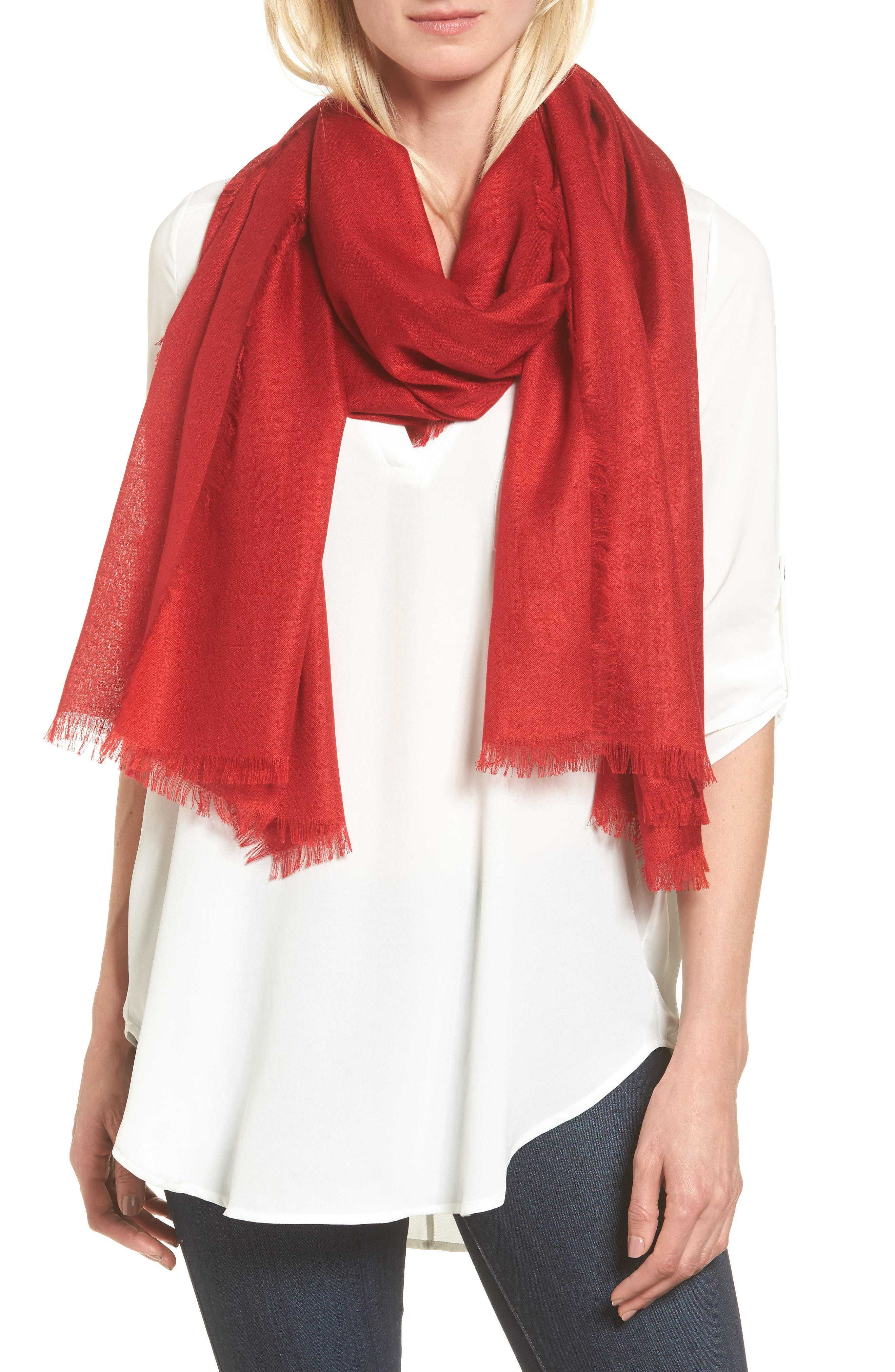 Cashmere & Silk Wrap,                         Main,                         color, RED SAGE