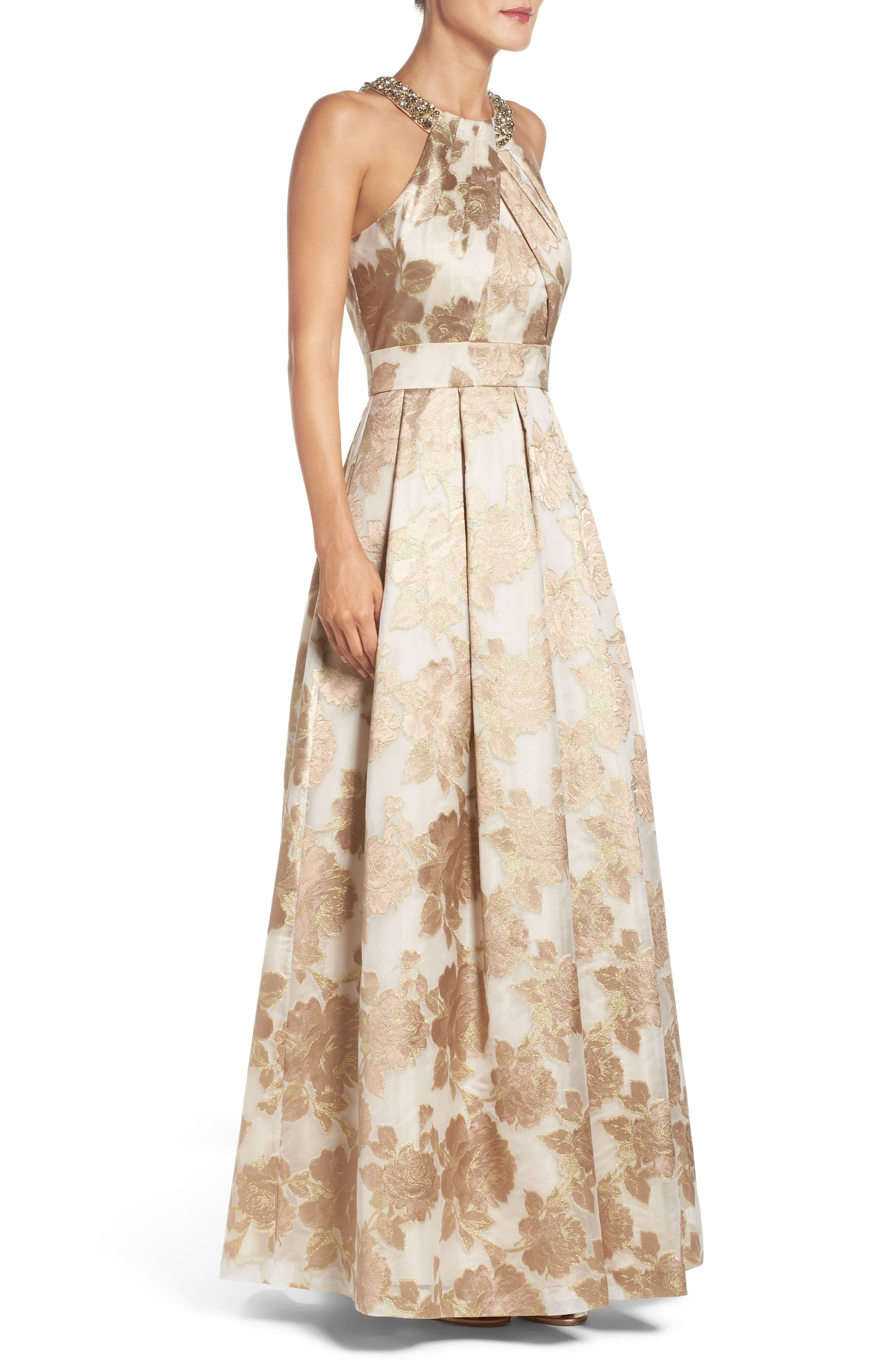 Embellished Floral Jacquard Fit & Flare Gown,                             Alternate thumbnail 3, color,                             710