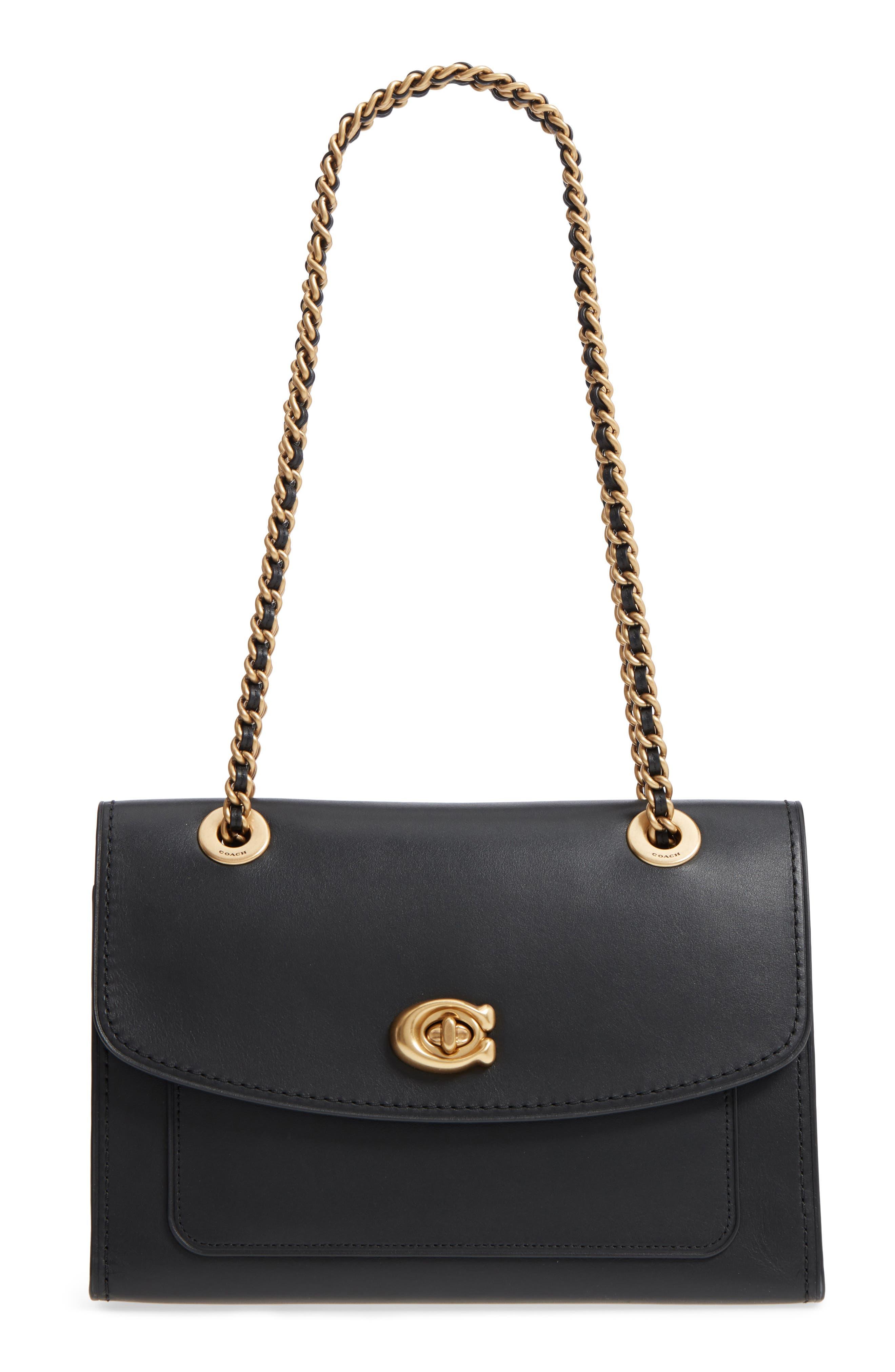 COACH,                             Parker Leather Shoulder Bag,                             Main thumbnail 1, color,                             001
