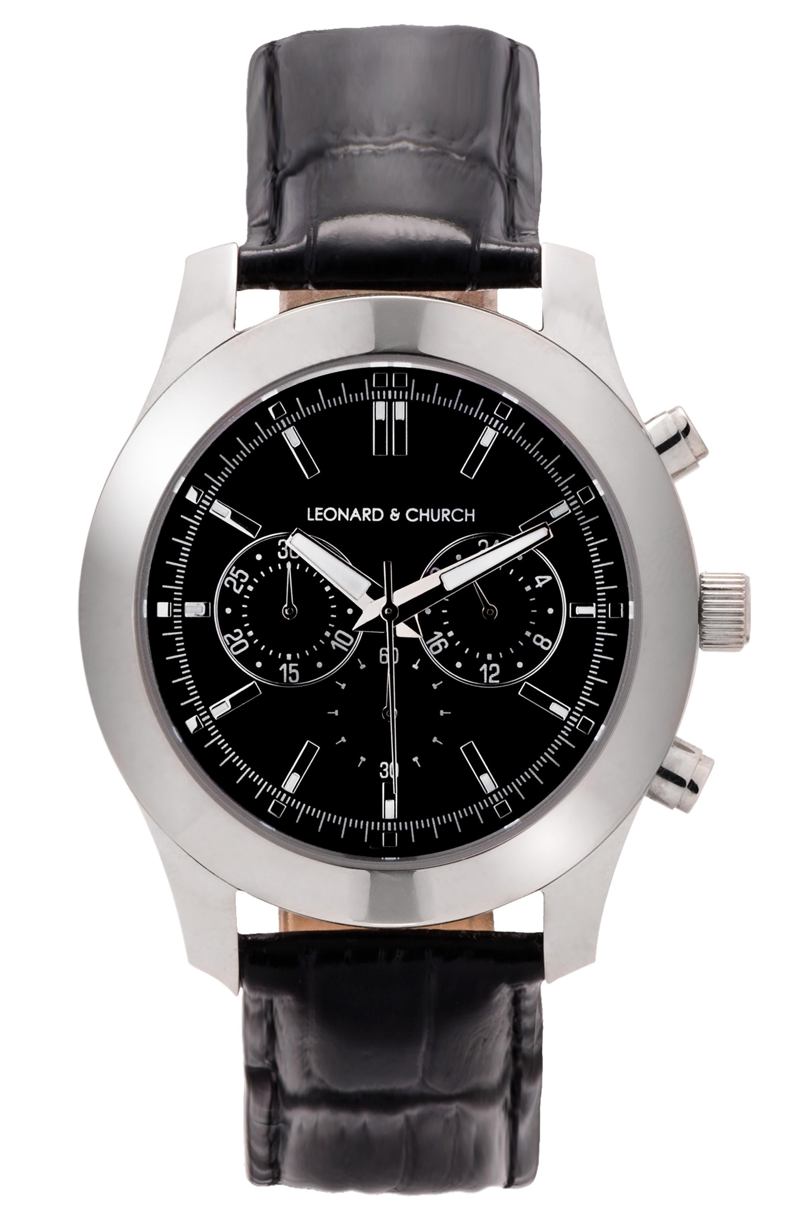 LEONARD & CHURCH Astor Chronograph Leather Strap Watch, 45mm, Main, color, 001
