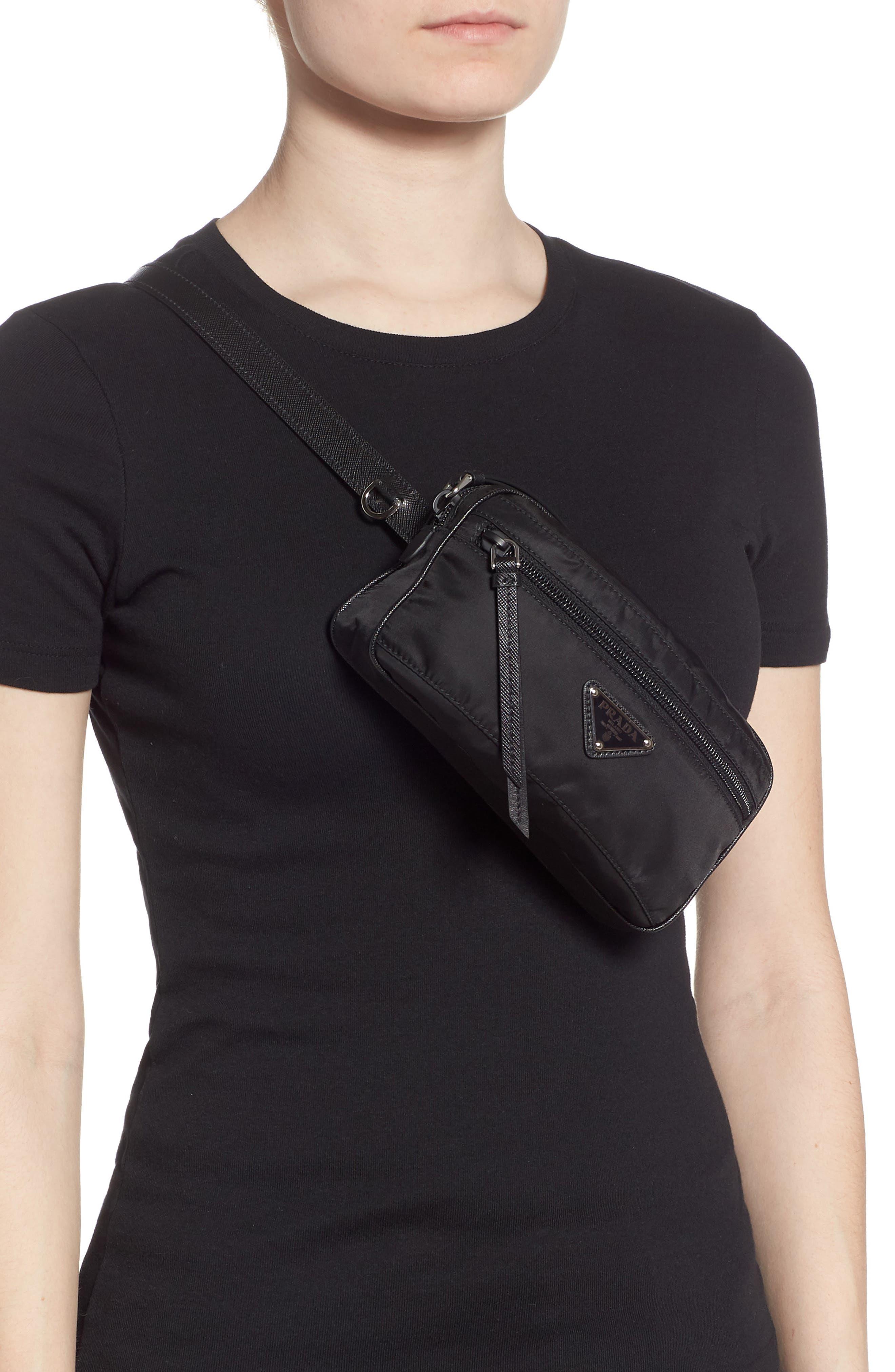 PRADA,                             Small Nylon Belt Bag,                             Alternate thumbnail 3, color,                             NERO