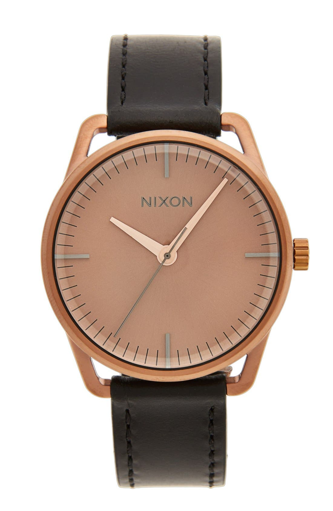 NIXON,                             'The Mellor' Leather Strap Watch, 38mm,                             Main thumbnail 1, color,                             001