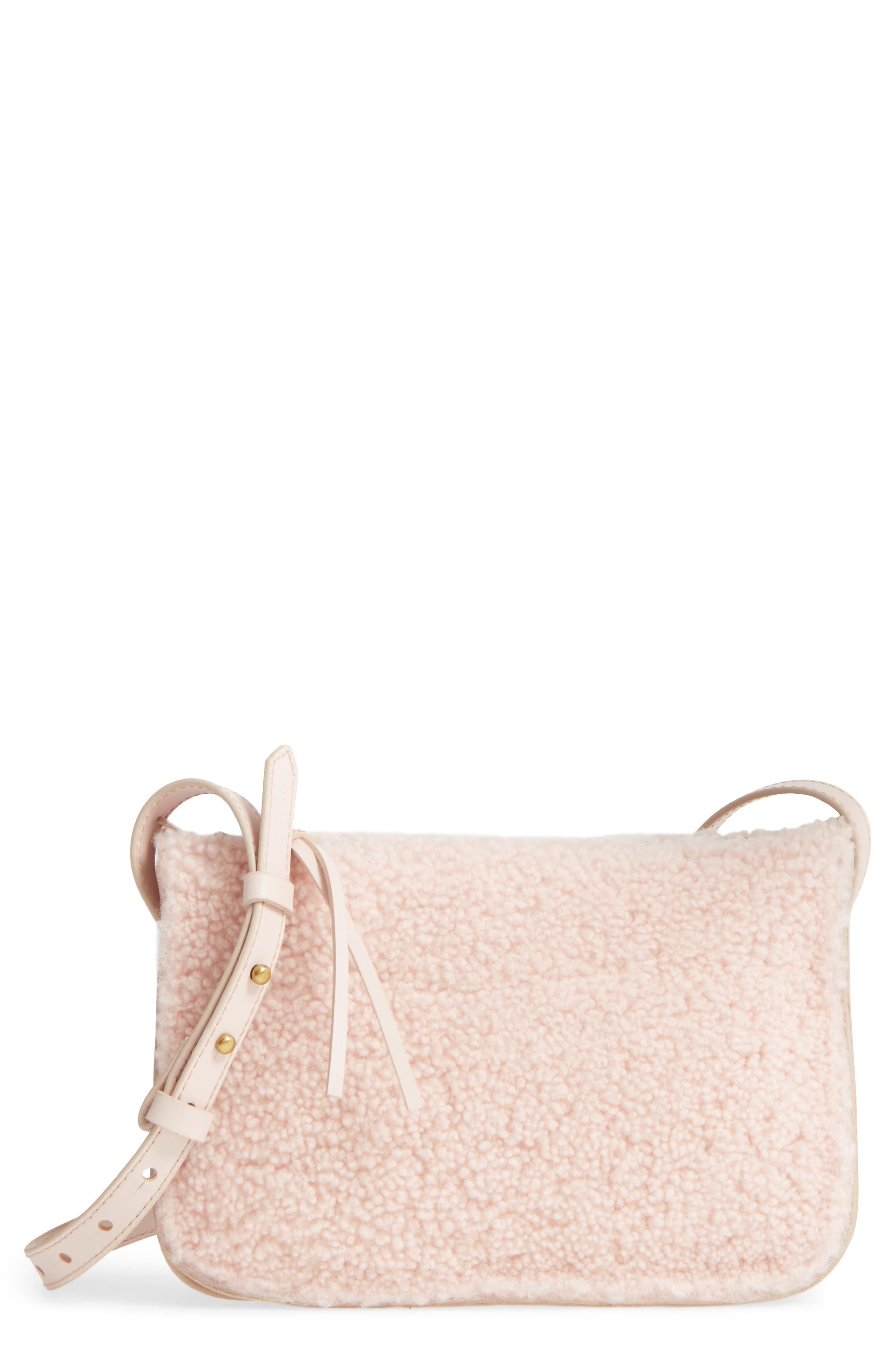 Simple Genuine Shearling Crossbody Bag,                             Main thumbnail 1, color,                             655