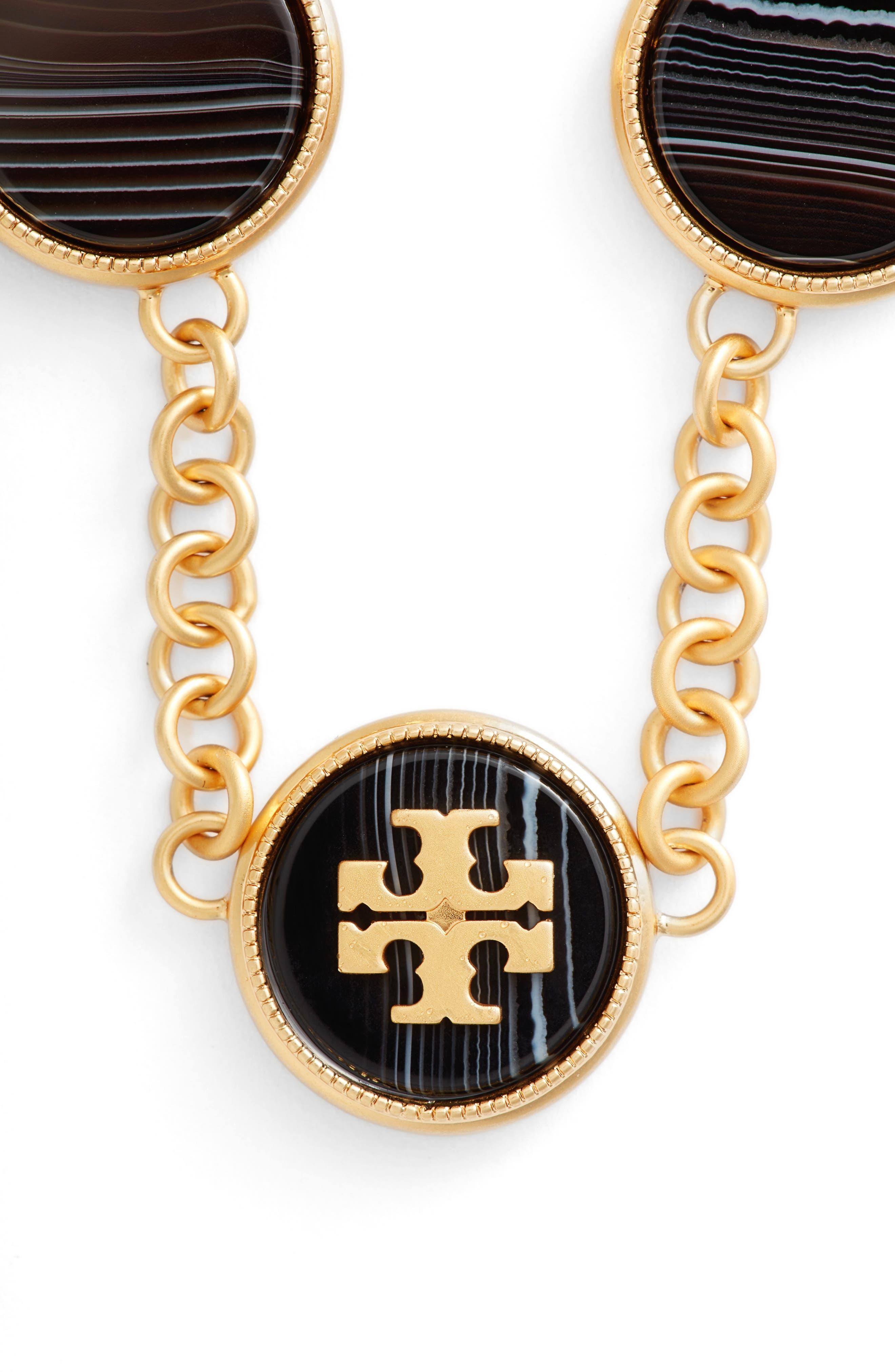Logo Disc Necklace,                             Main thumbnail 1, color,                             AGATE/ VINTAGE GOLD