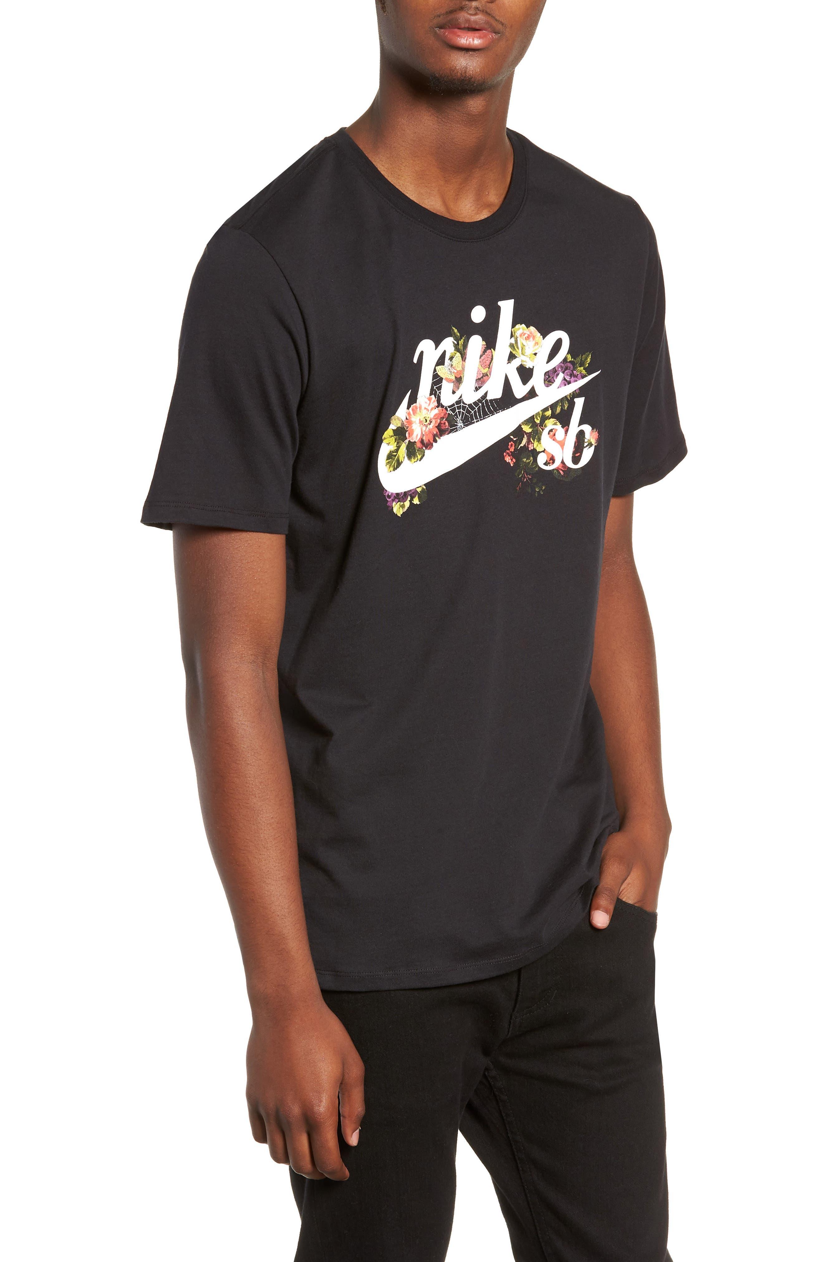 Floral Logo T-Shirt,                             Main thumbnail 1, color,                             BLACK/ WHITE