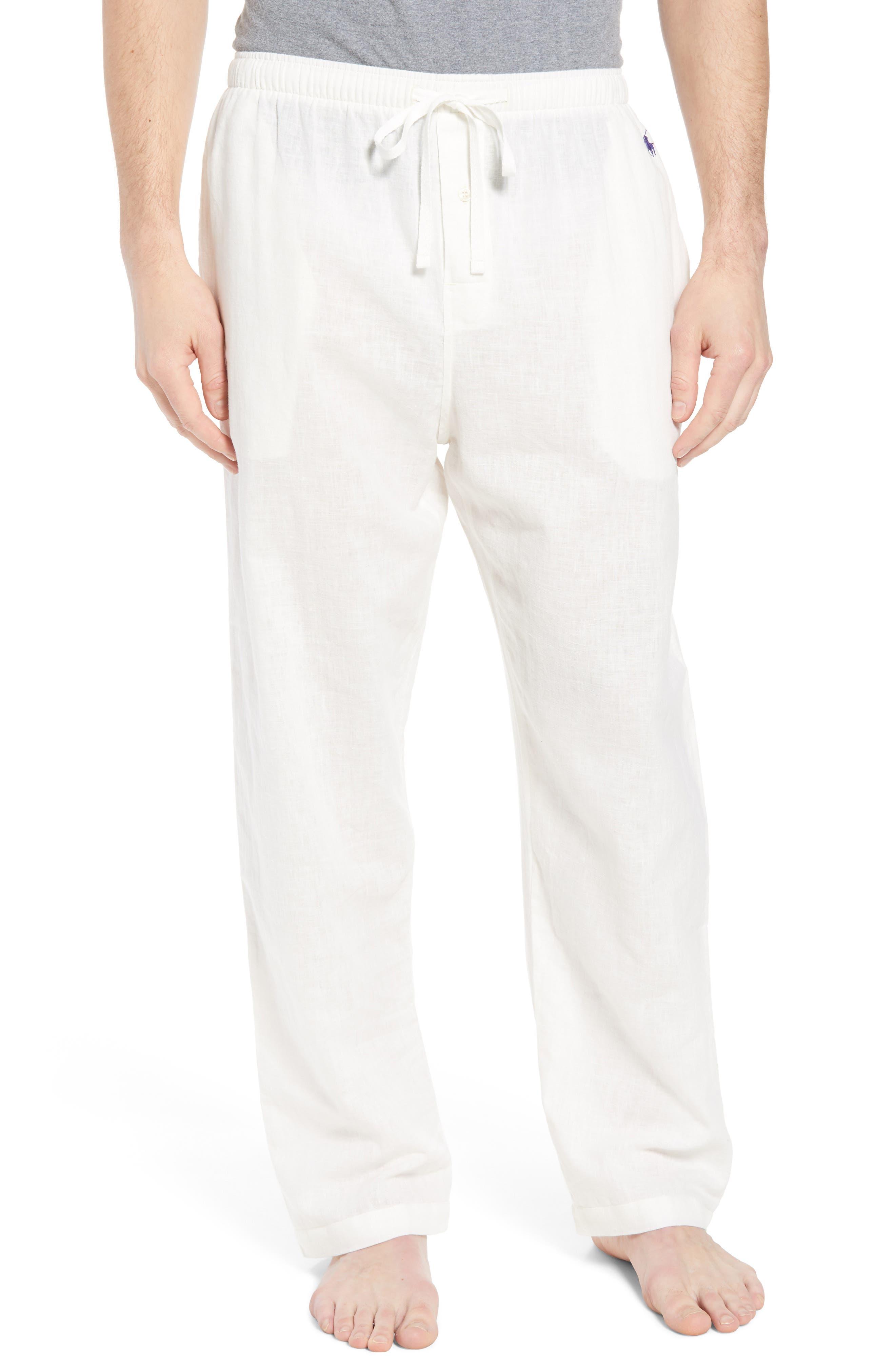 Walker Cotton & Linen Lounge Pants,                         Main,                         color, NEVIS/ BRIGHT NAVY