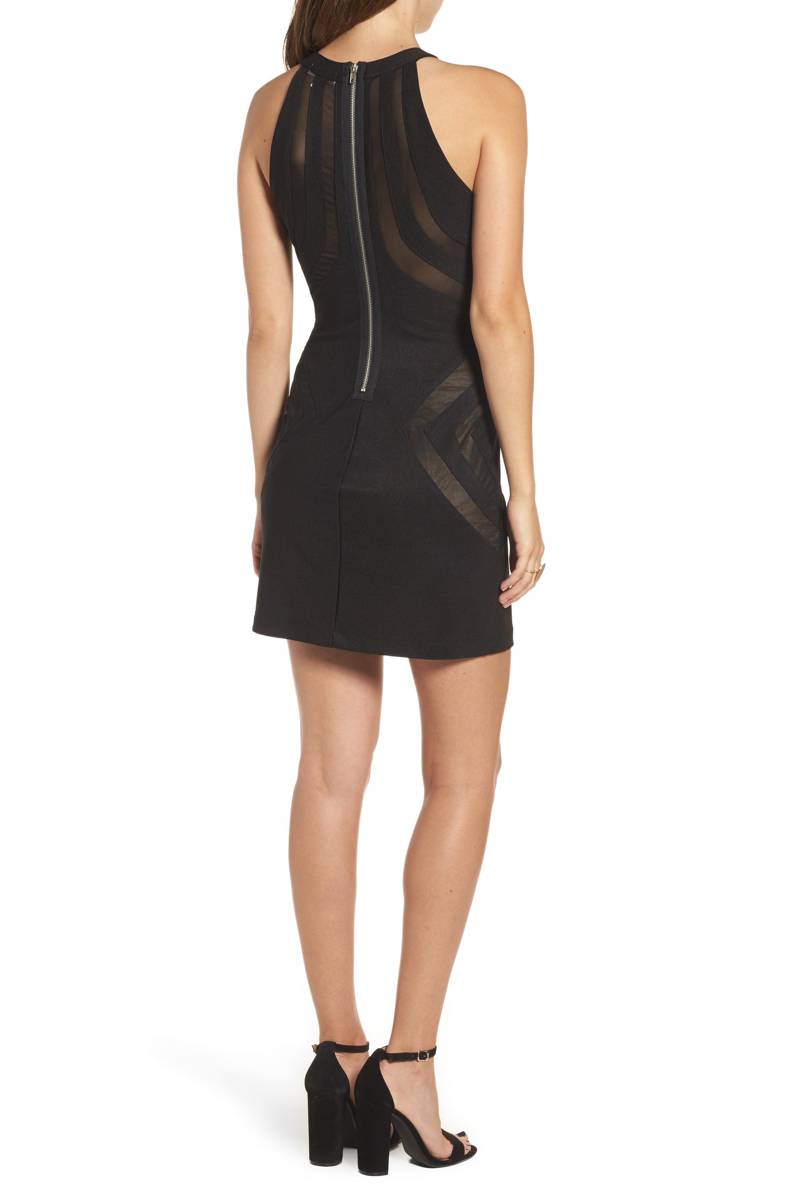 Love Nickie Lew Mesh Inset Body Con Dress,                             Alternate thumbnail 2, color,                             001