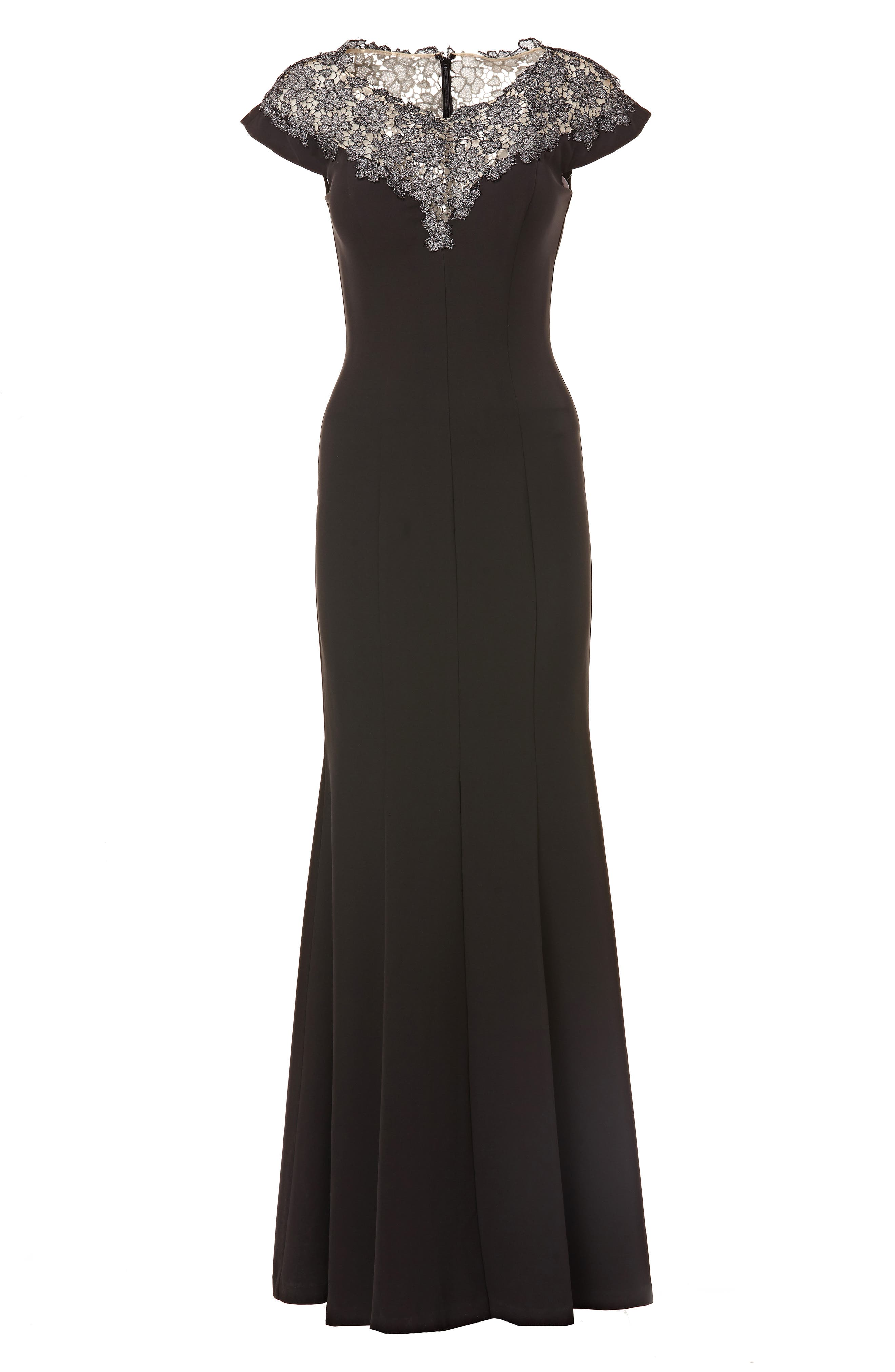 JS COLLECTIONS,                             Lace Yoke Crepe Trumpet Gown,                             Alternate thumbnail 3, color,                             BLACK