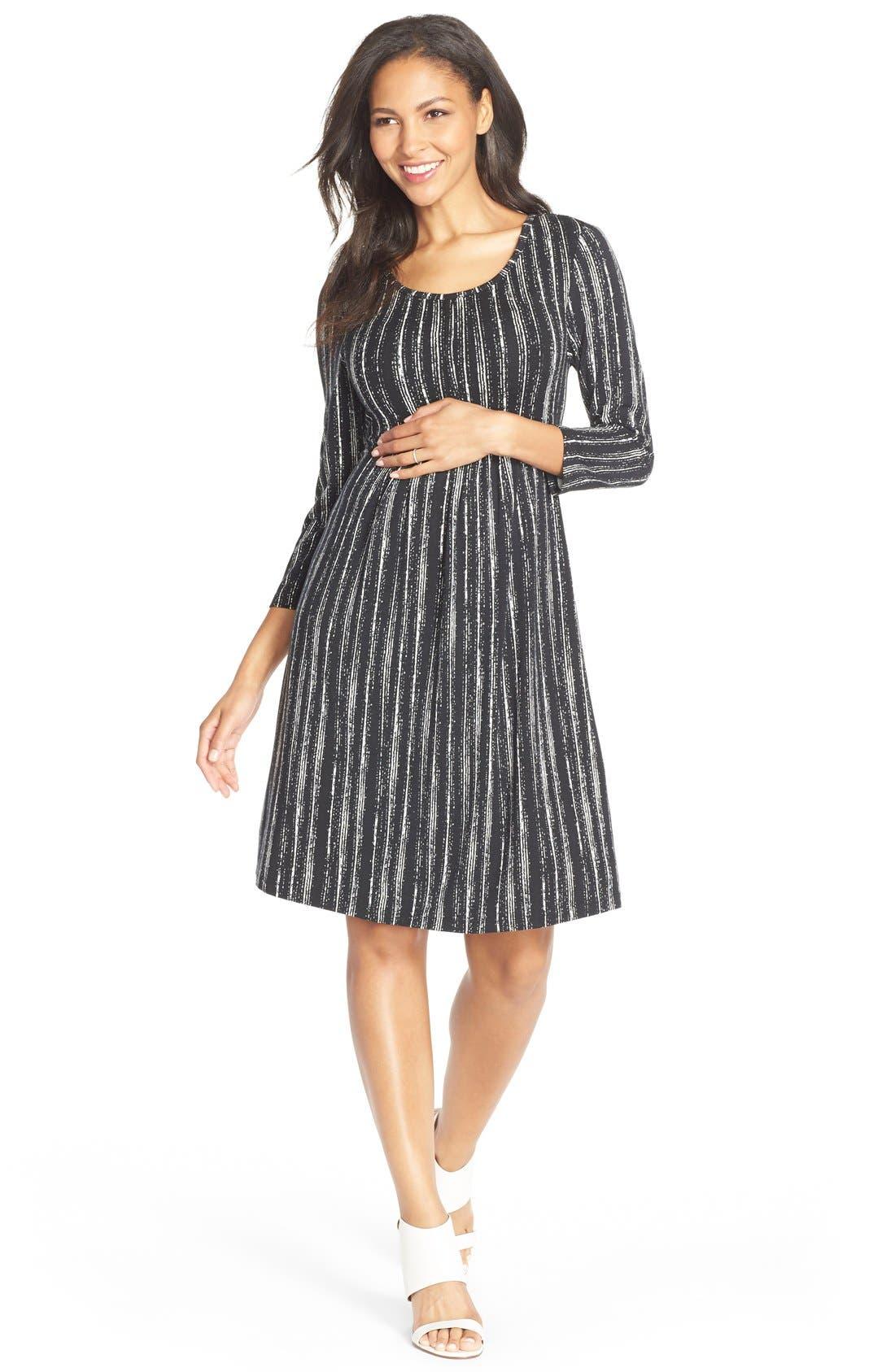'Mathilde' Elbow Sleeve Maternity Dress,                             Main thumbnail 1, color,                             DRY BRUSH STRIPE