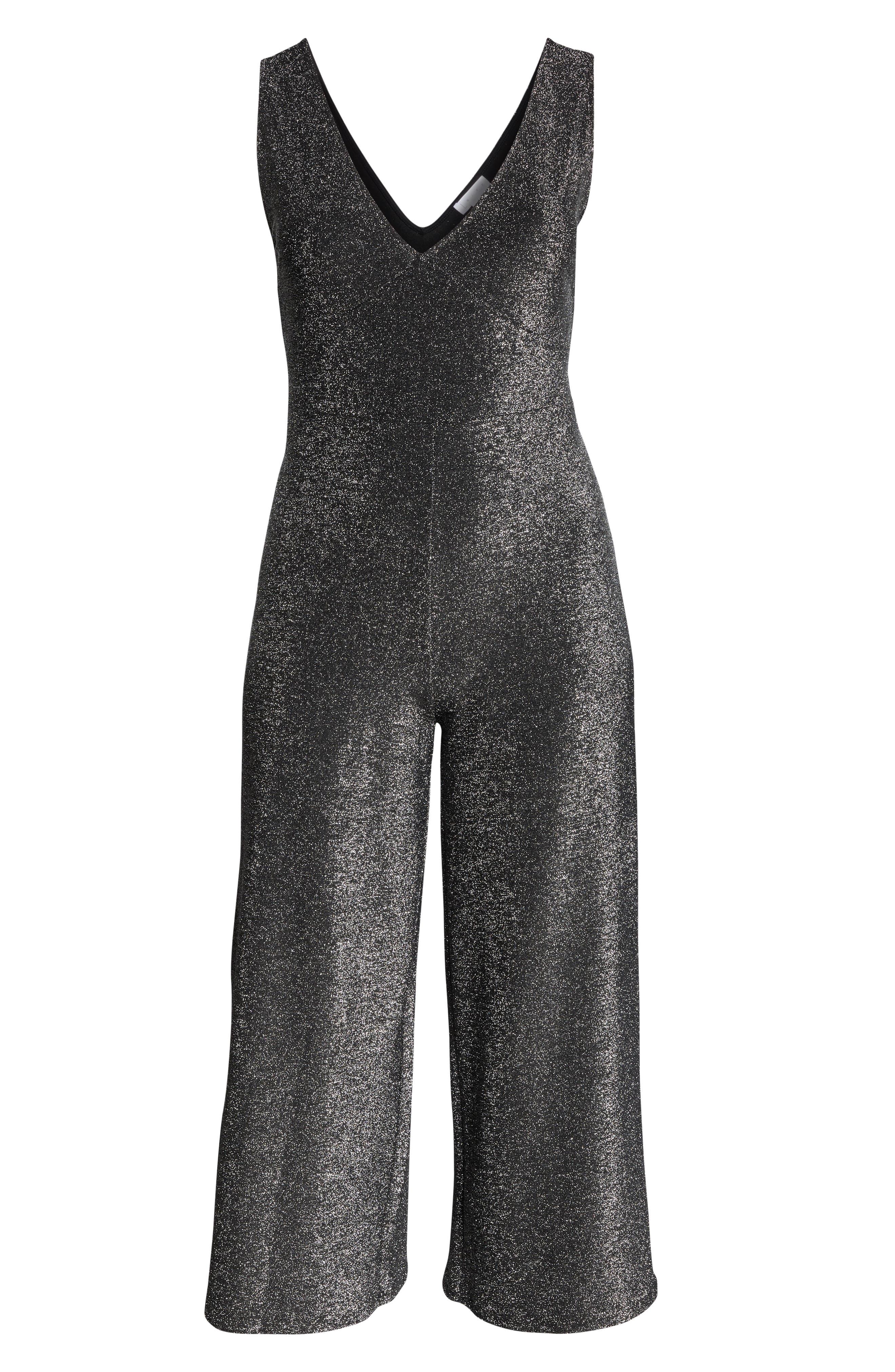 Metallic Crop Wide Leg Jumpsuit,                             Alternate thumbnail 7, color,                             040