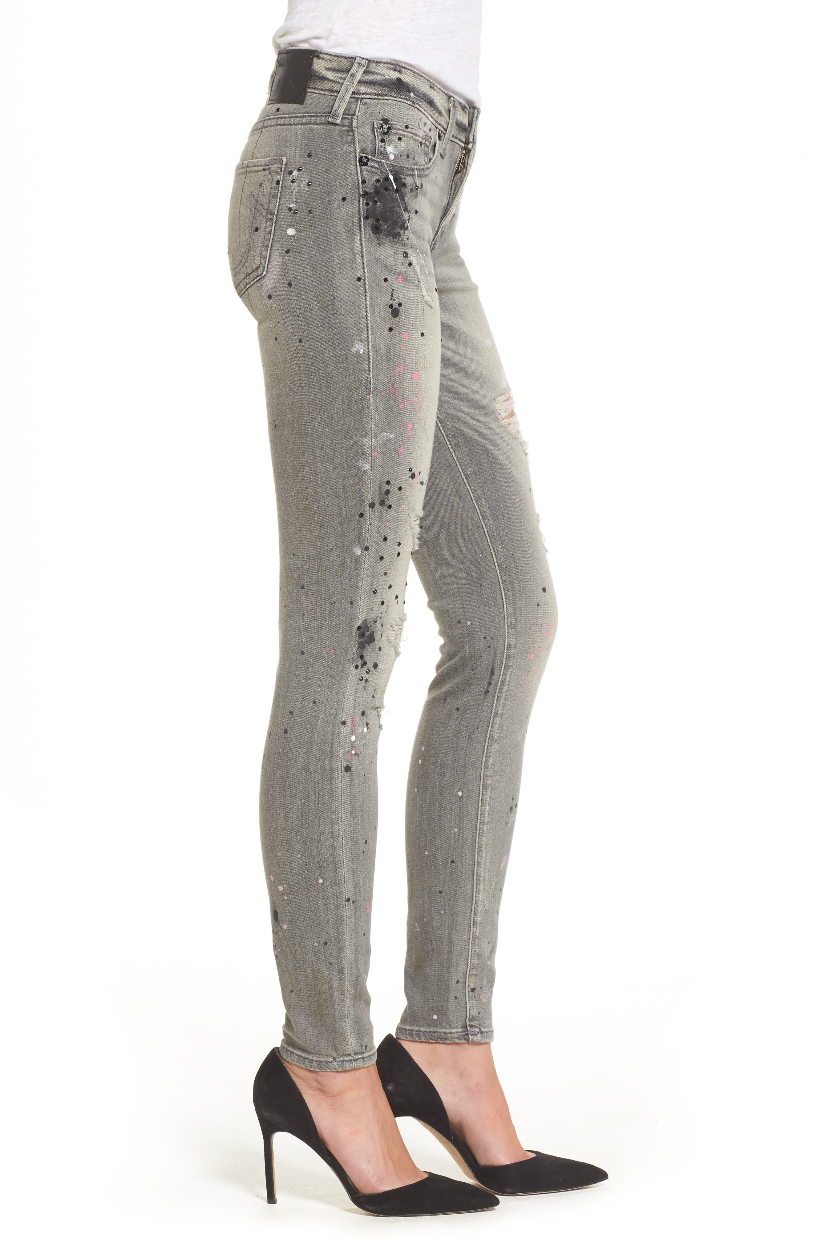 Halle Paint Splatter Skinny Jeans,                             Alternate thumbnail 3, color,                             021