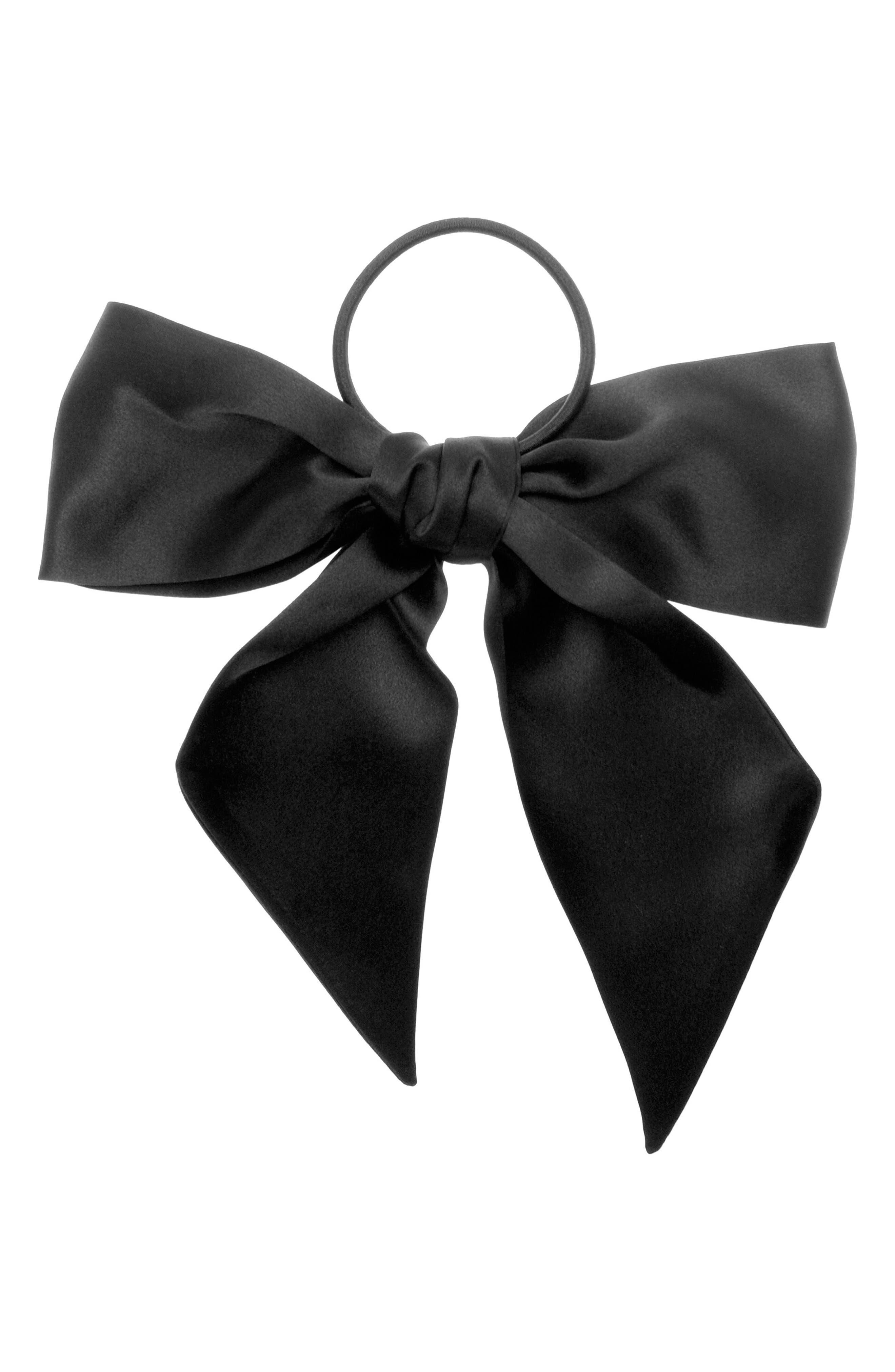 Large Bow Ponytail Holder,                             Main thumbnail 1, color,                             BLACK