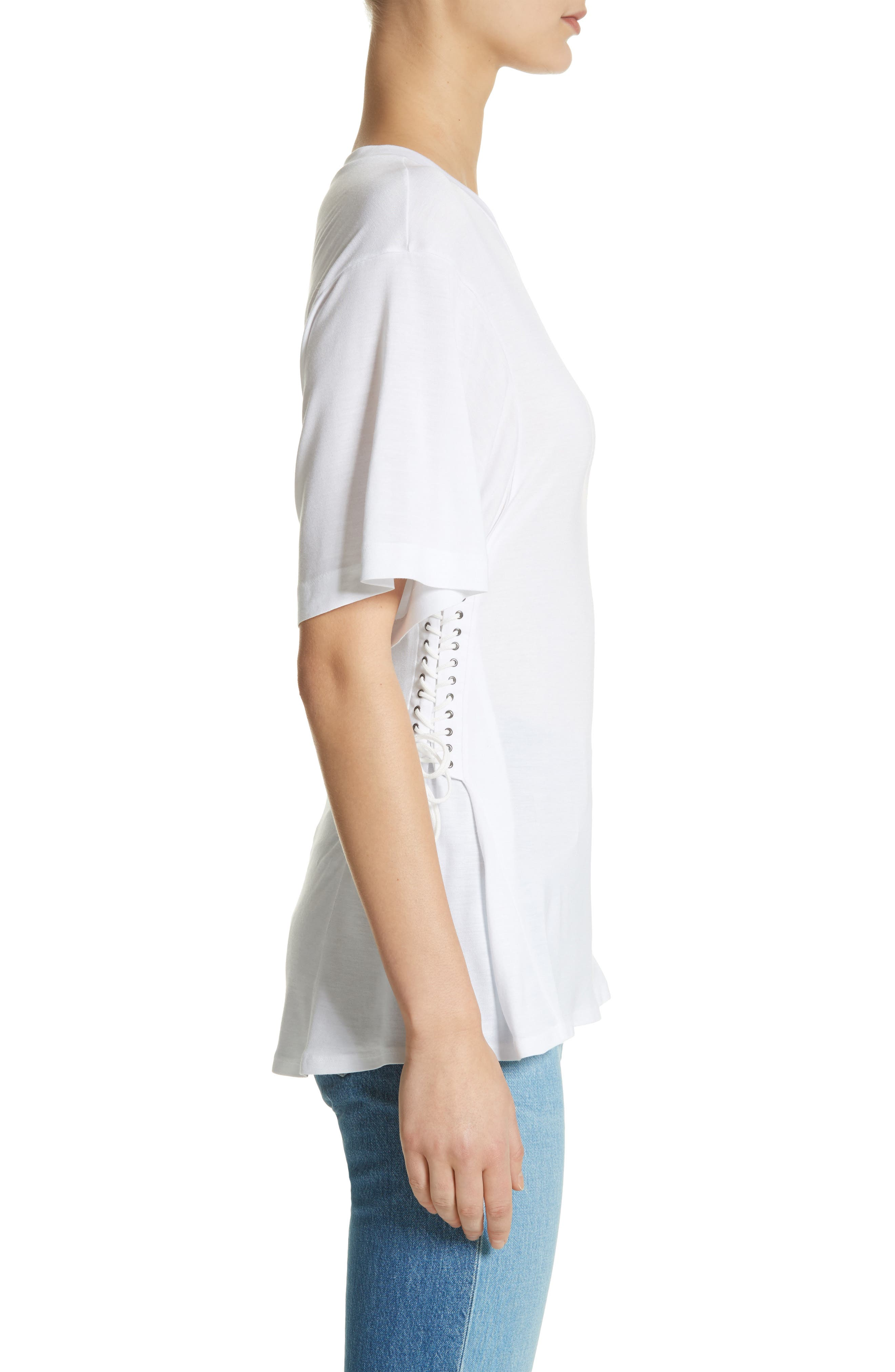 Axel Lace-Up Tee,                             Alternate thumbnail 3, color,                             WHITE