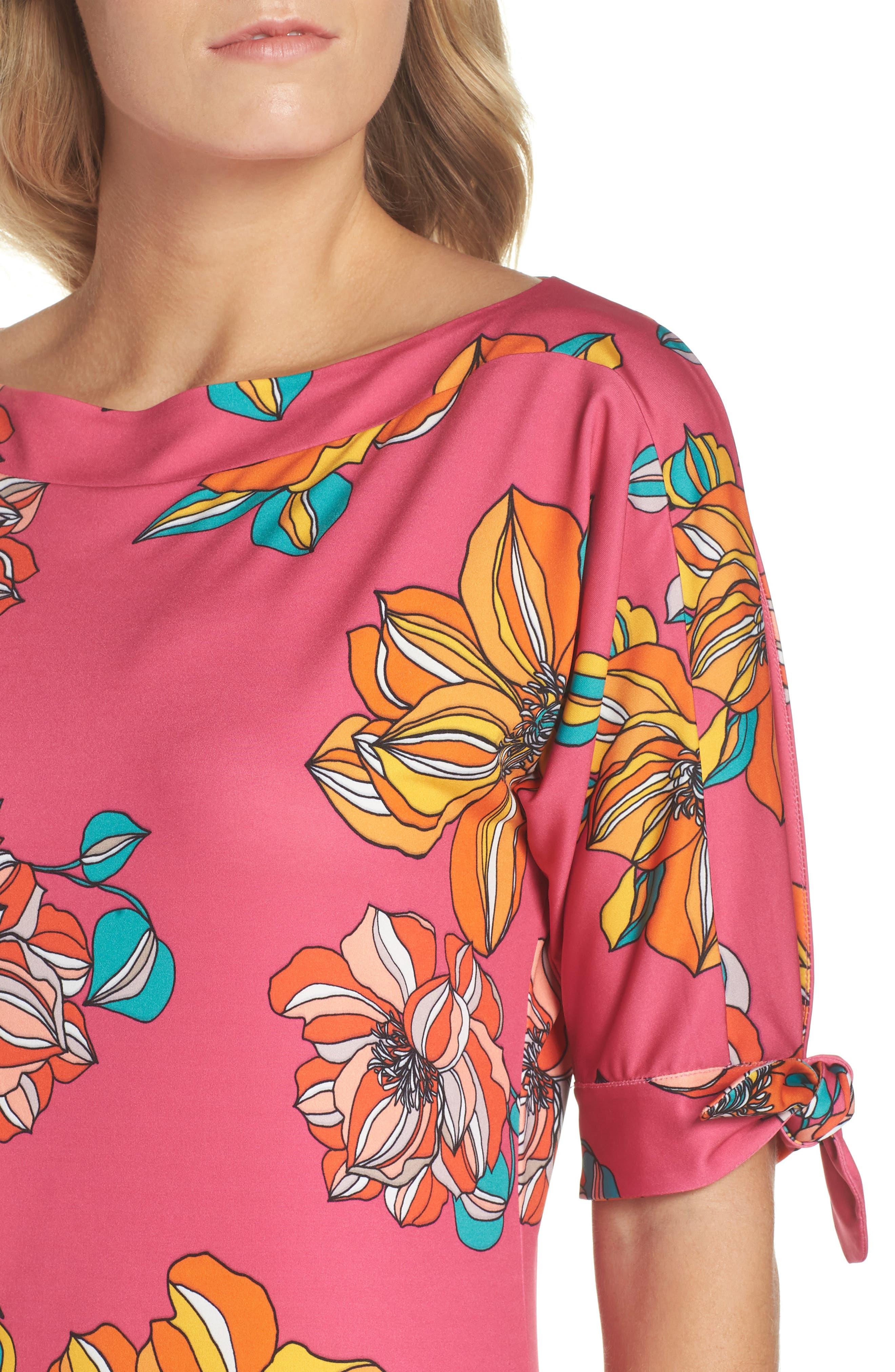 Vinet Floral Jersey Dress,                             Alternate thumbnail 4, color,                             650