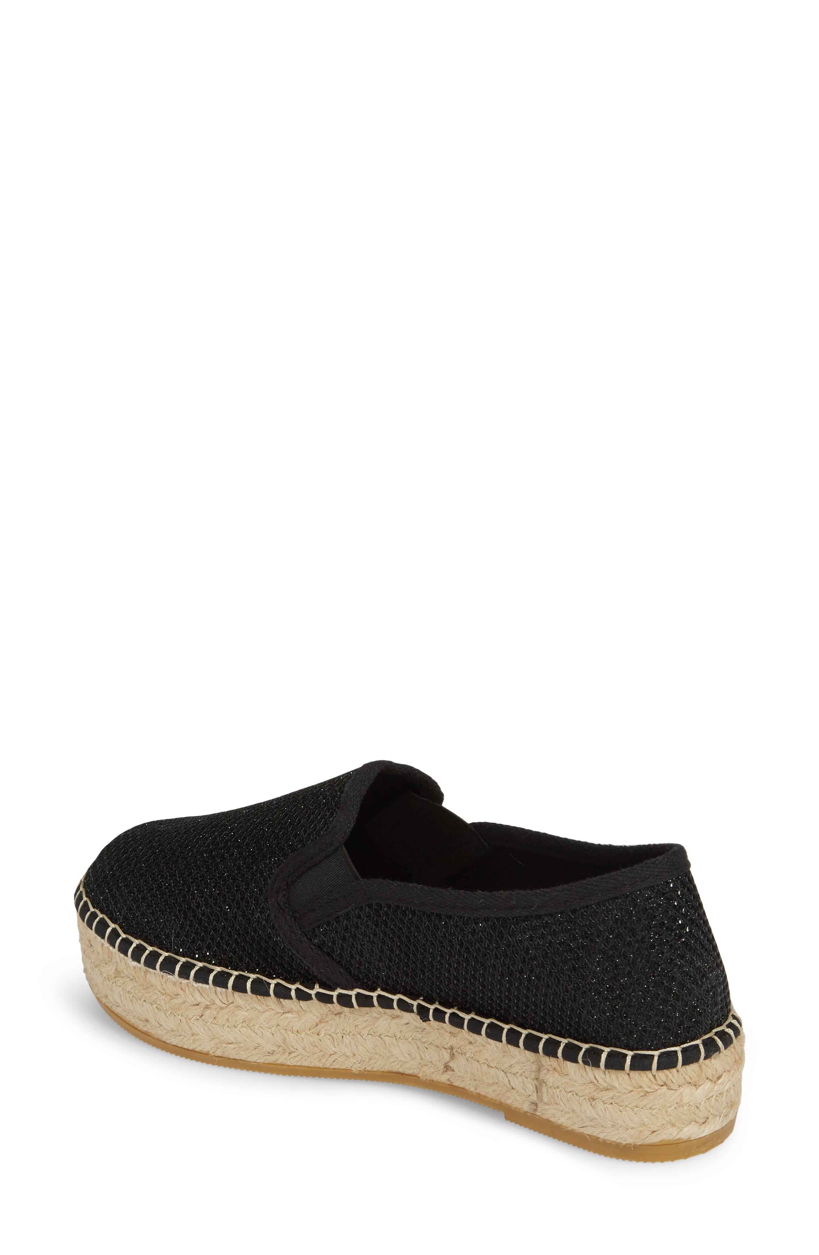 Fonda Platform Espadrille Sneaker,                             Alternate thumbnail 2, color,                             BLACK FABRIC