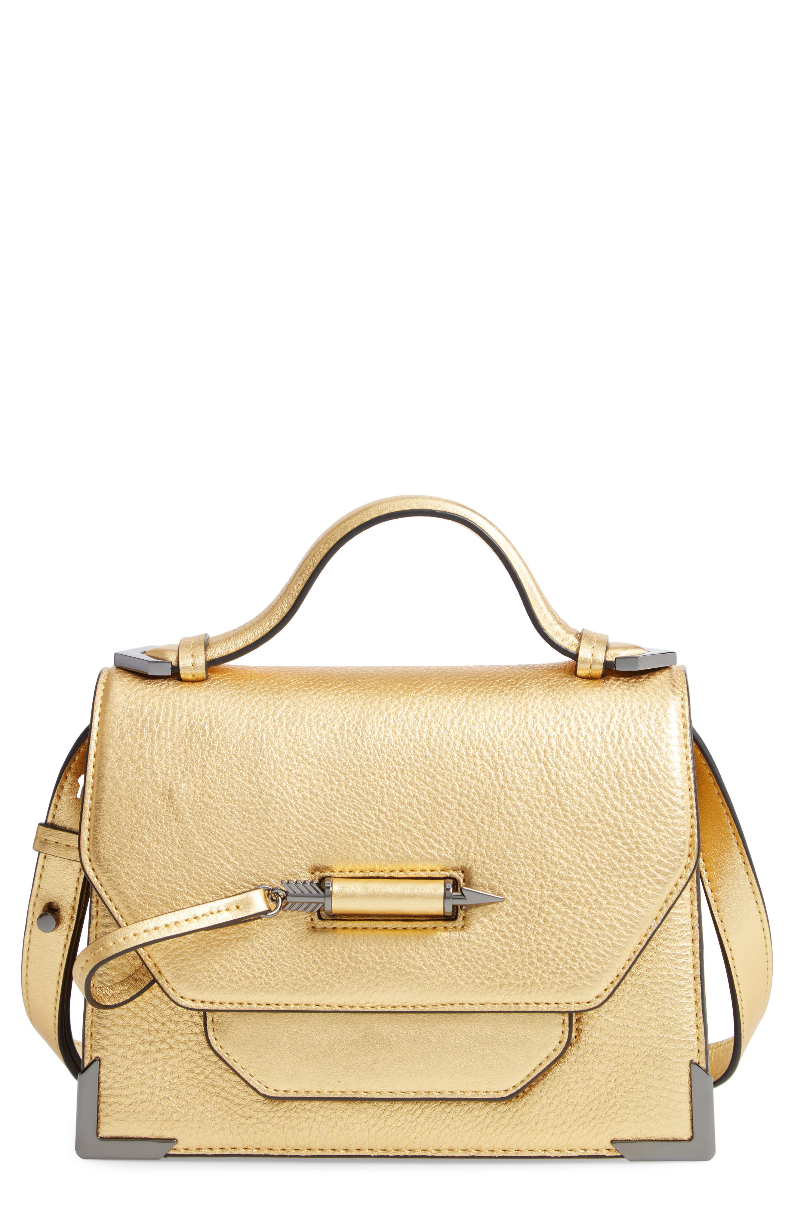Keeley Leather Satchel,                             Main thumbnail 1, color,                             GOLD/ GUNMETAL