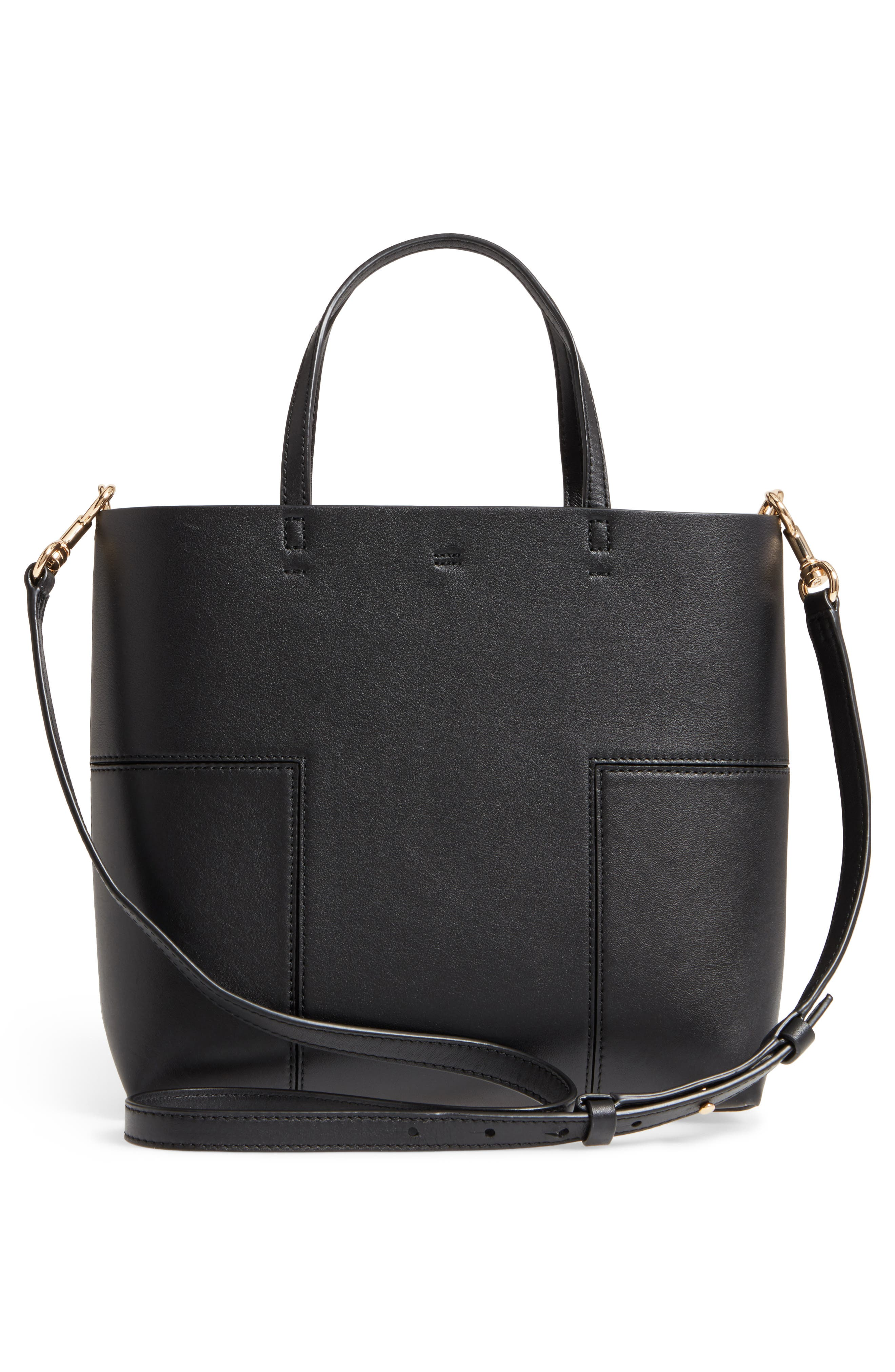 Block-T Mini Leather Tote,                             Alternate thumbnail 3, color,                             BLACK/BLACK