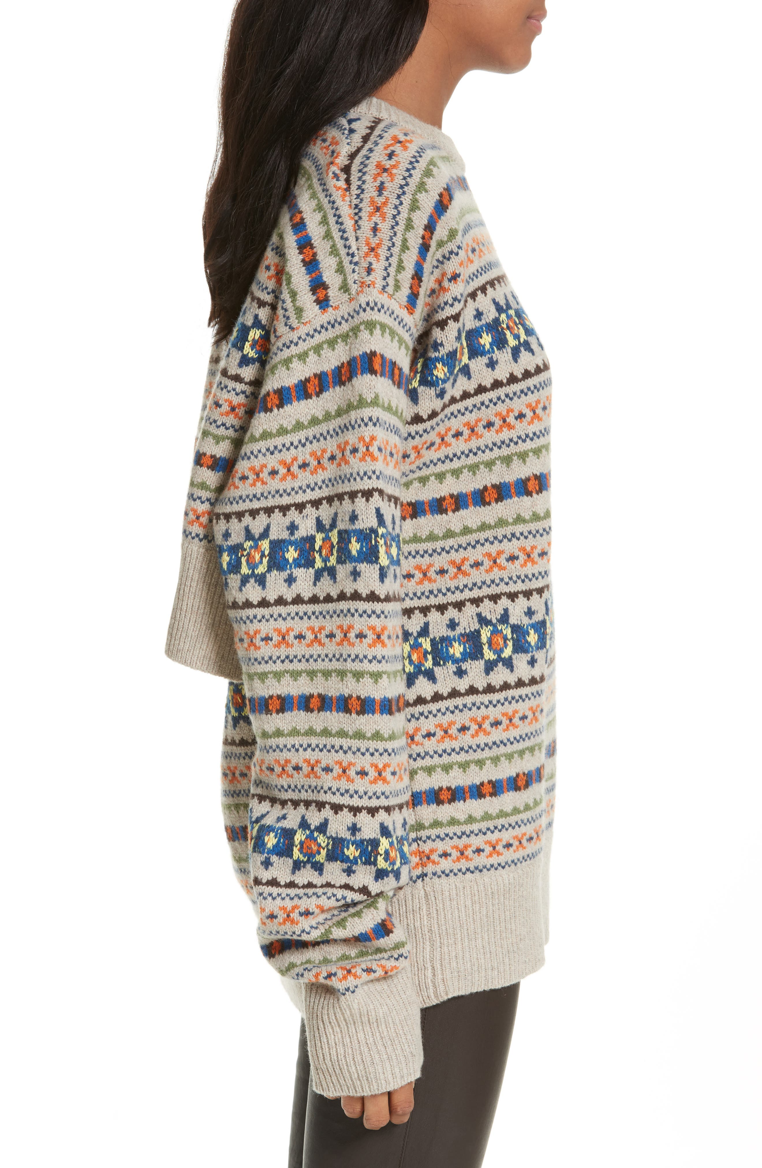 Double Layer Fair Isle Sweater,                             Alternate thumbnail 3, color,