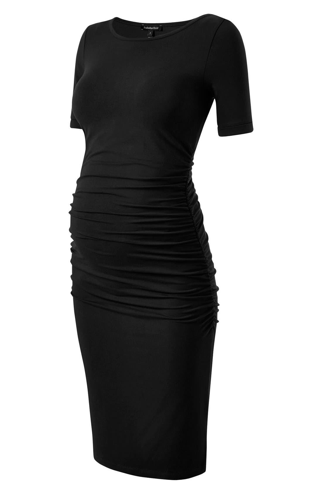 ISABELLA OLIVER,                             Ruched Maternity Dress,                             Alternate thumbnail 4, color,                             001