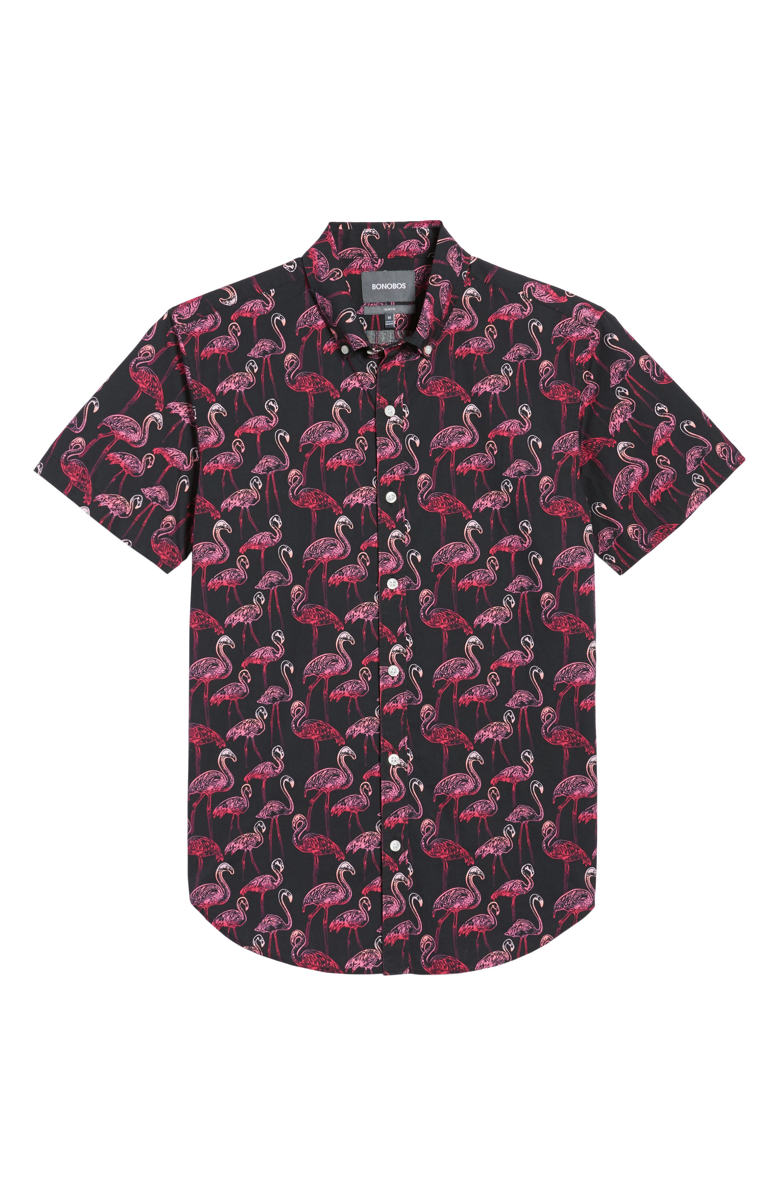 Slim Fit Flamingo Print Sport Shirt,                             Alternate thumbnail 6, color,