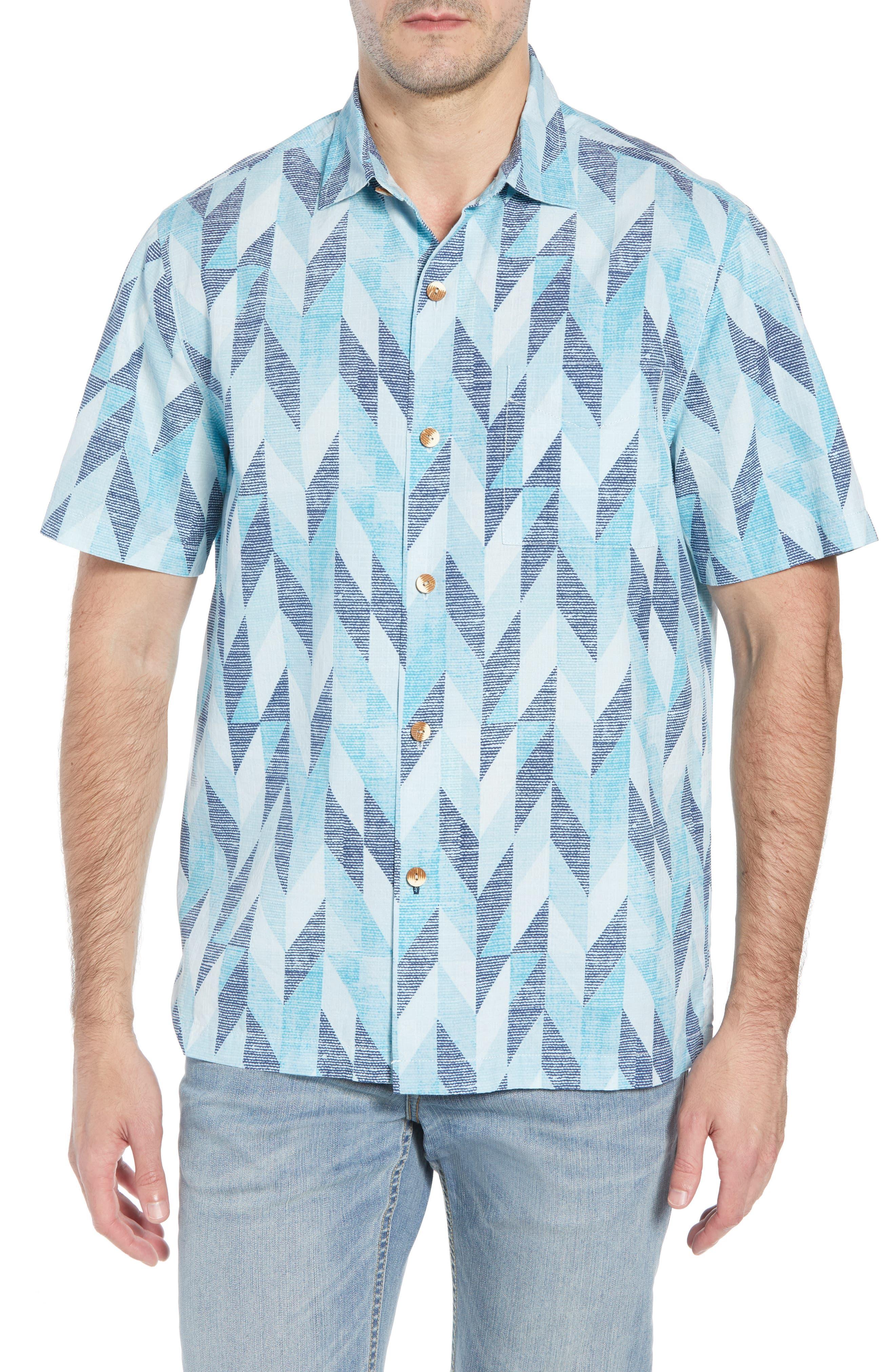 Geo Celeste Sport Shirt,                         Main,                         color, RIVIERA AZURE