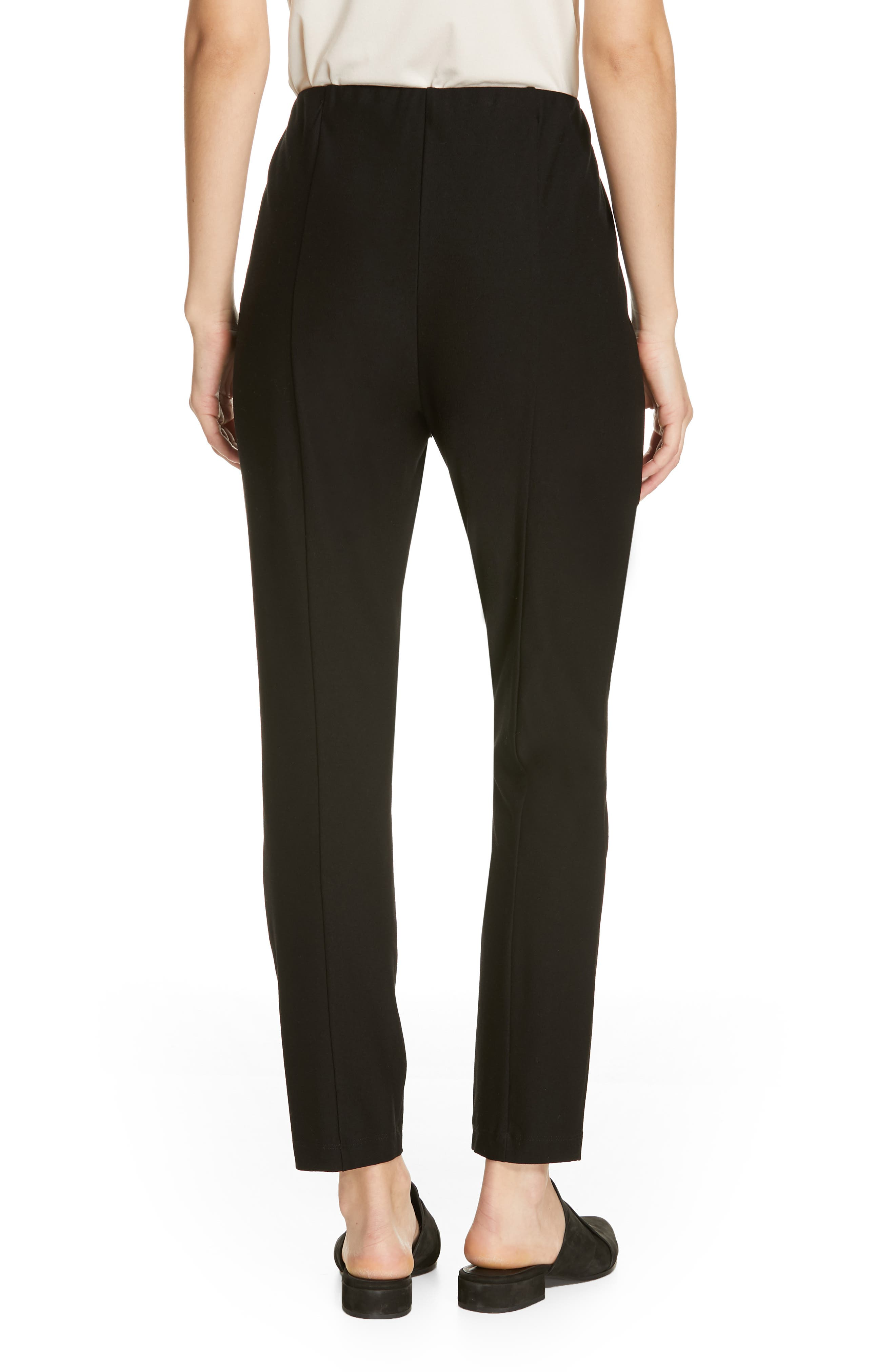 High Waist Slim Ankle Pants,                             Alternate thumbnail 2, color,                             BLACK