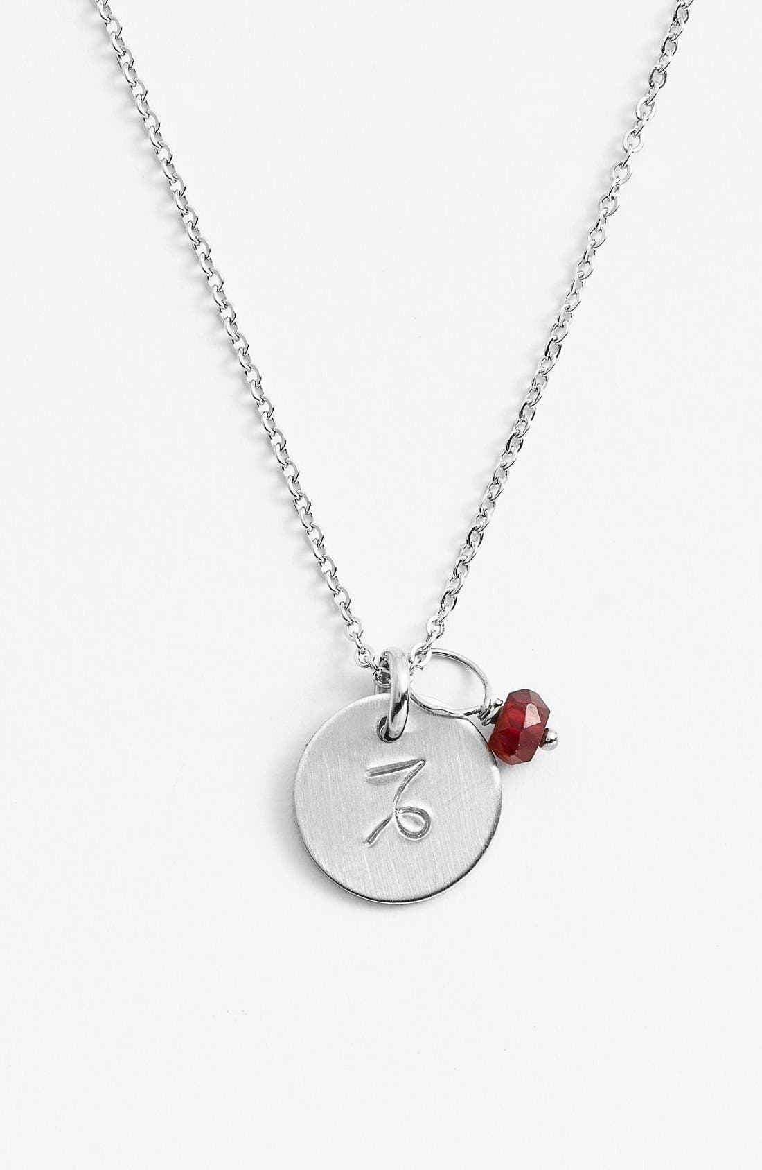 Semiprecious Birthstone Sterling Silver Zodiac Mini Disc Necklace,                         Main,                         color, CAPRICORN