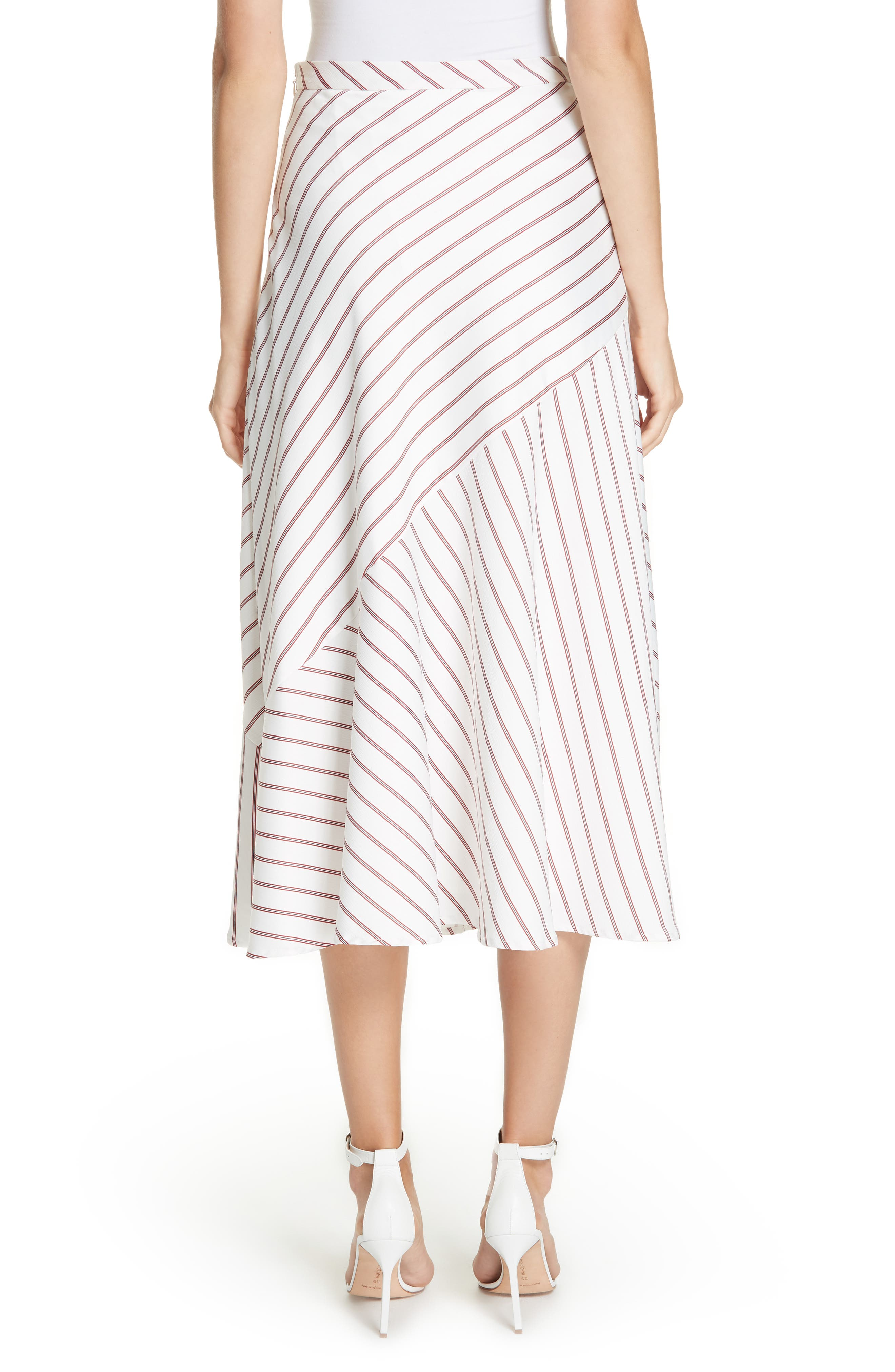 NICHOLAS,                             Stripe Panel Skirt,                             Alternate thumbnail 2, color,                             WHITE/ RED