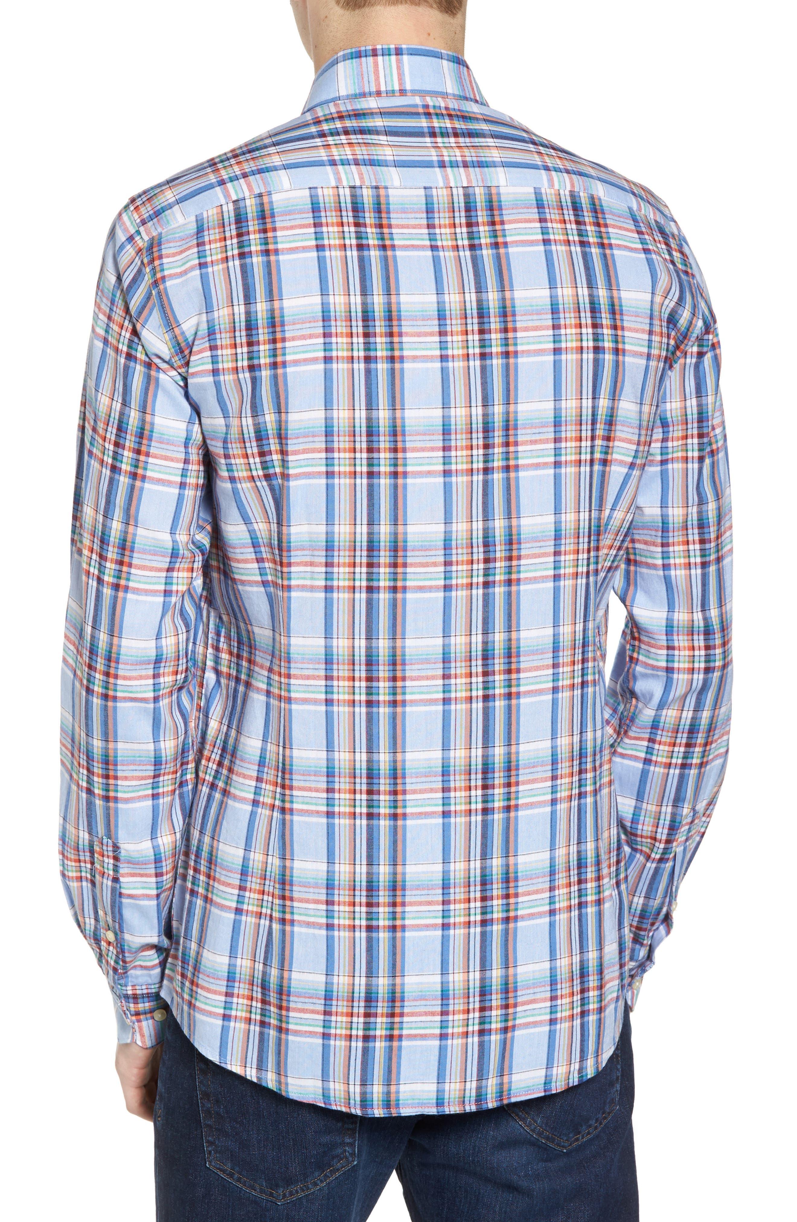 Bram Trim Fit Plaid Sport Shirt,                             Alternate thumbnail 2, color,                             450