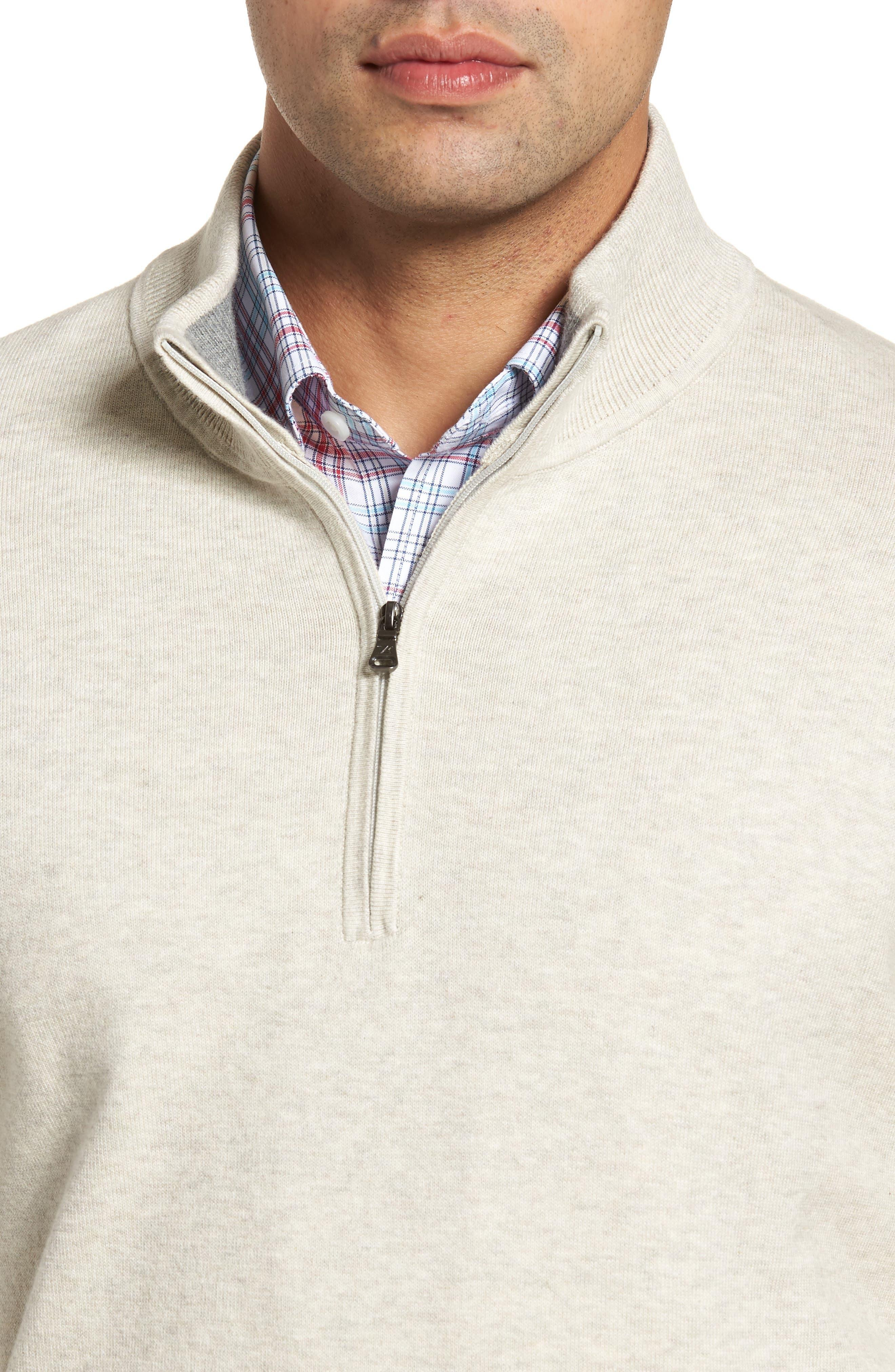CUTTER & BUCK,                             Lakemont Classic Fit Quarter Zip Sweater,                             Alternate thumbnail 4, color,                             OATMEAL HEATHER