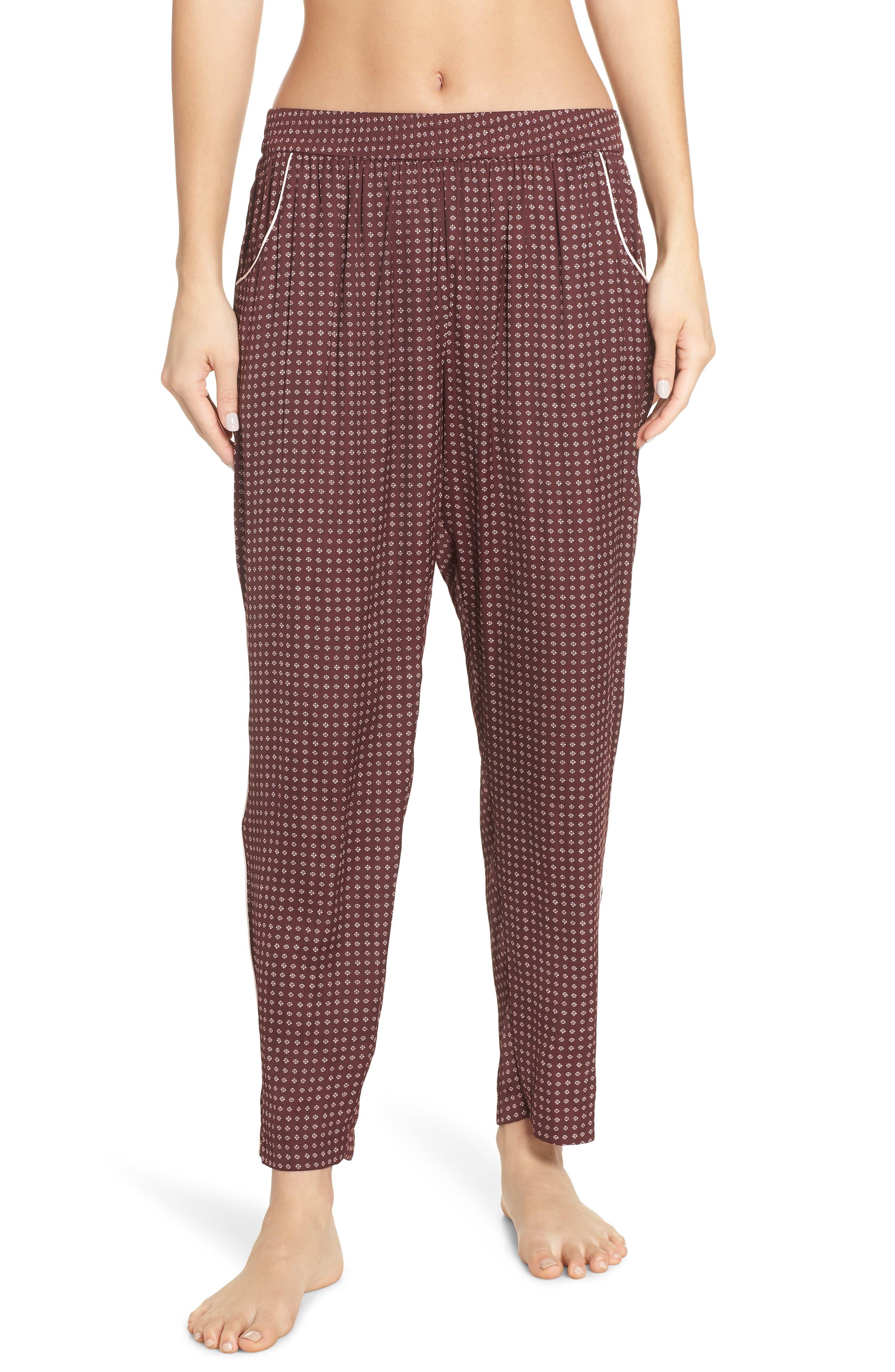 Something Navy Satin Pajama Pants, Red