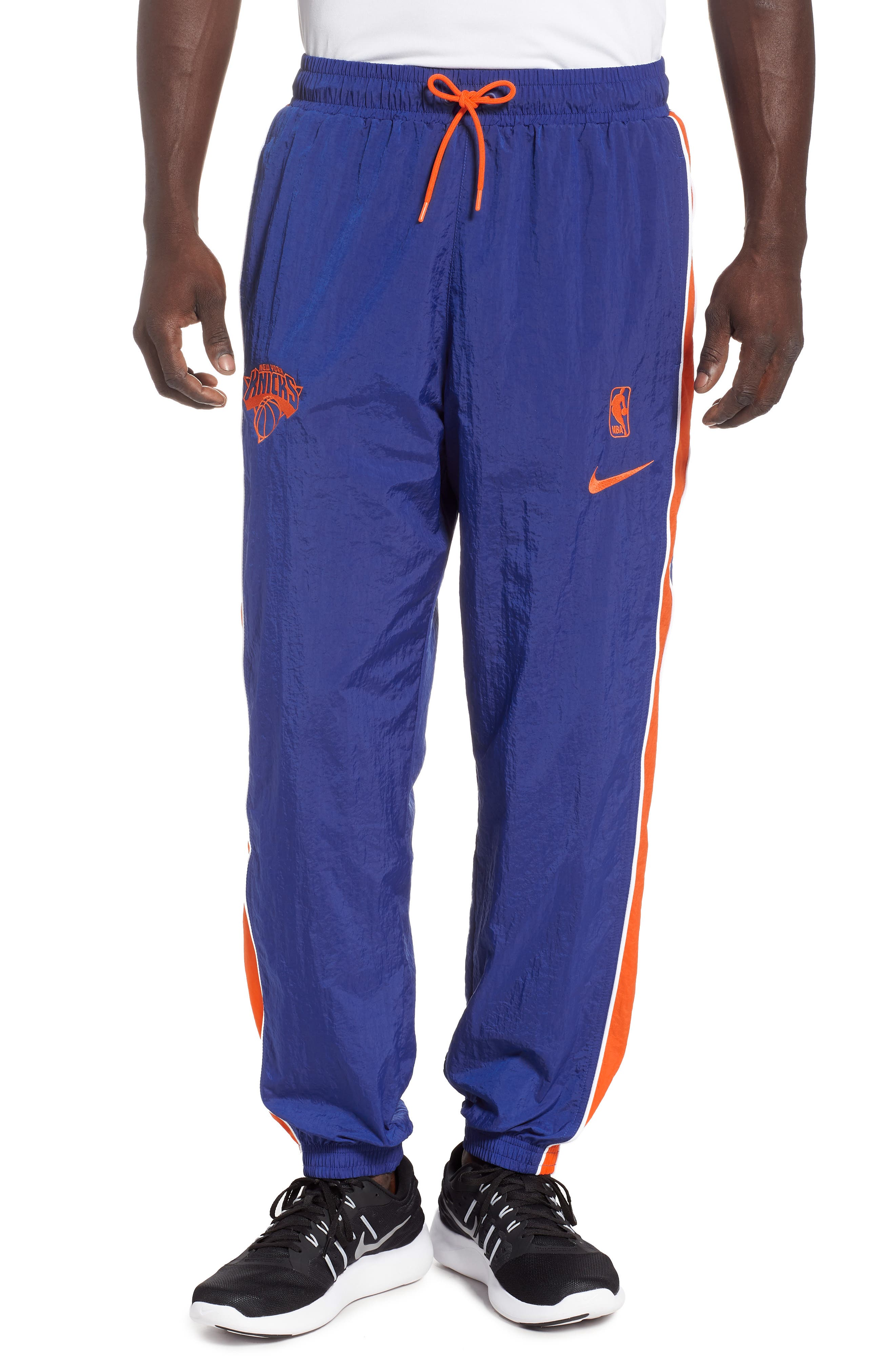 New York Knicks Courtside Track Pants,                         Main,                         color, RUSH BLUE/ BRILLIANT ORANGE