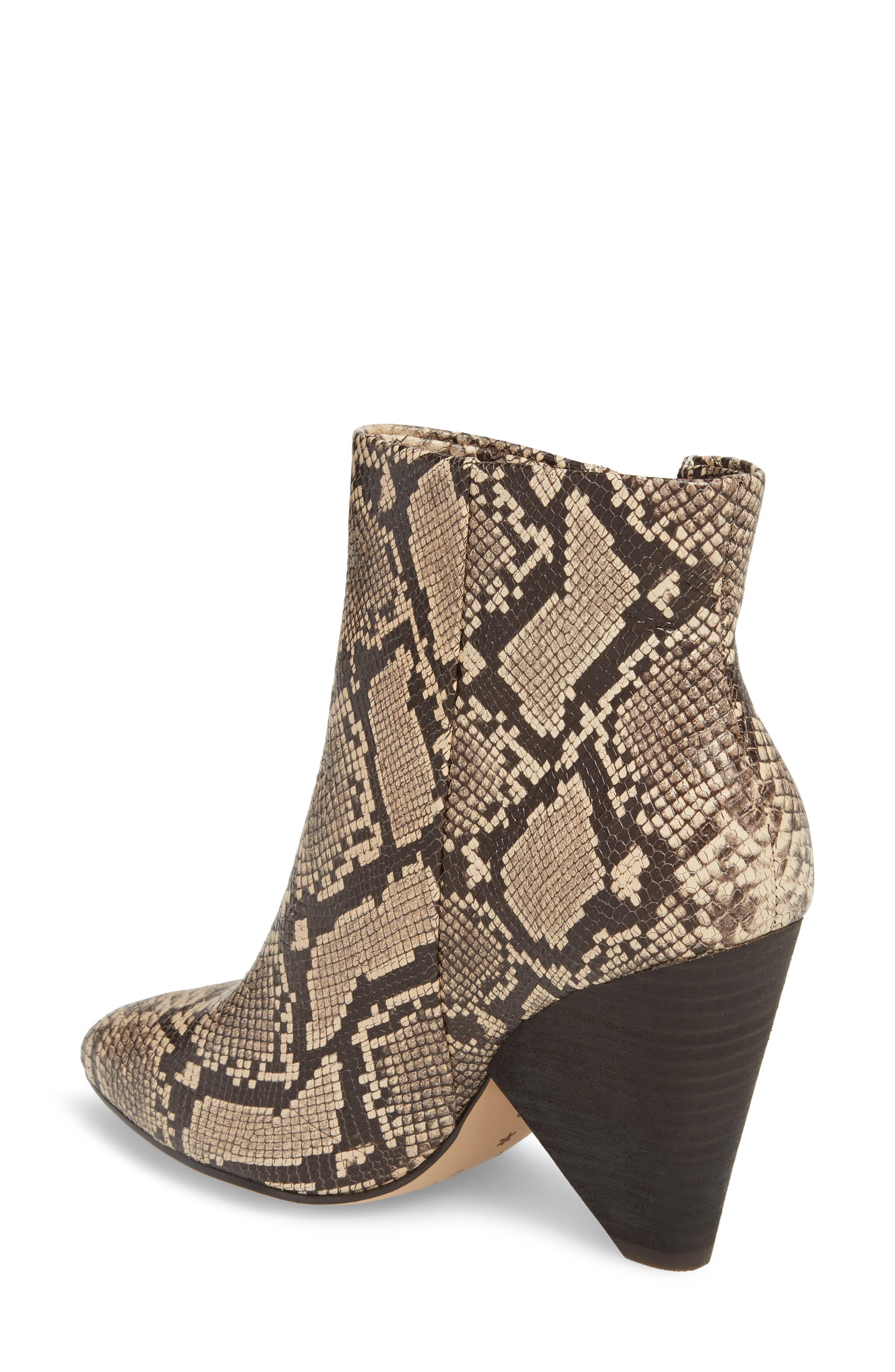 Neva II Bootie,                             Alternate thumbnail 2, color,                             NATURAL EMBOSSED SNAKE LEATHER