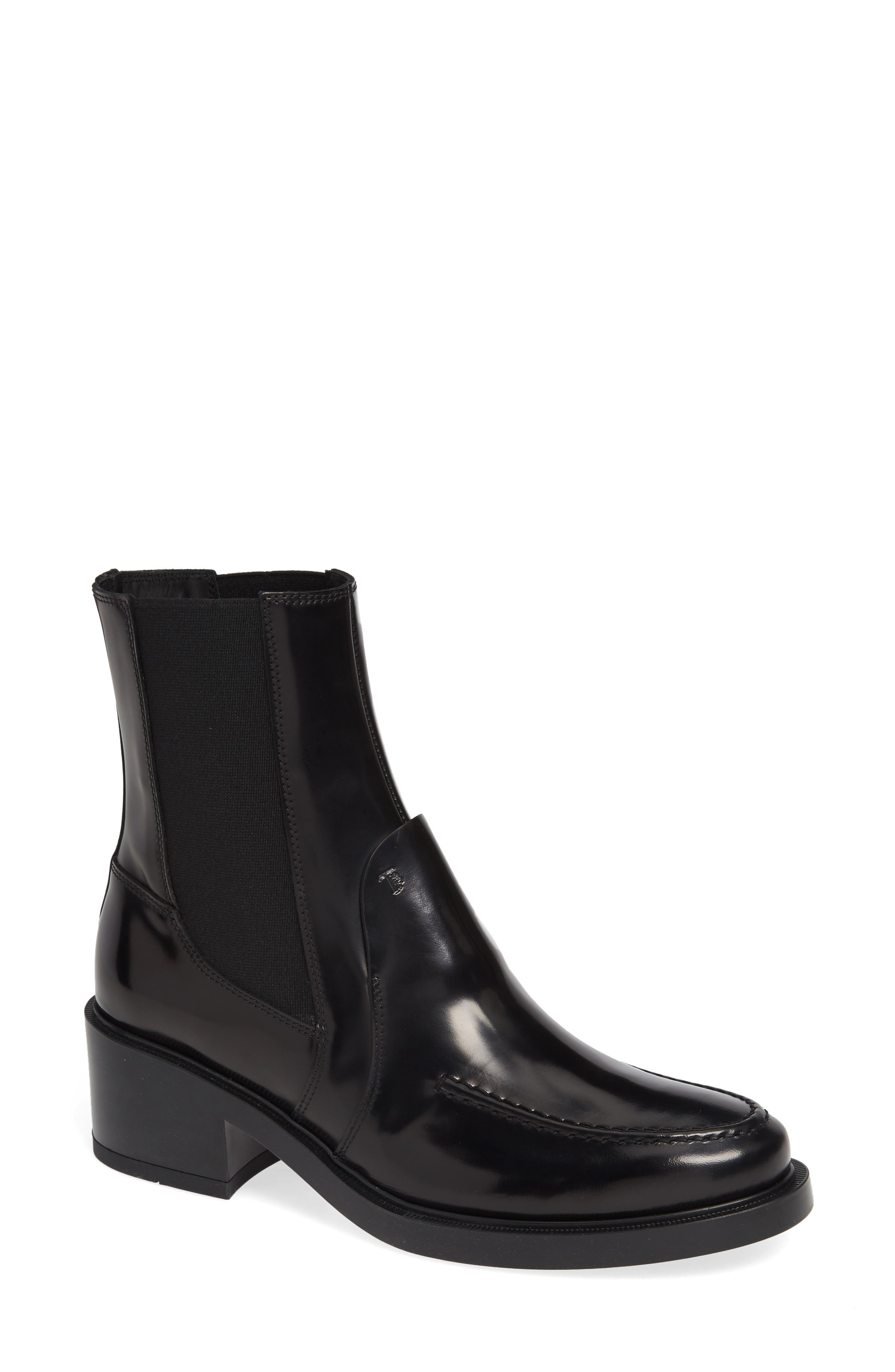 Block Heel Ankle Boot,                         Main,                         color, BLACK