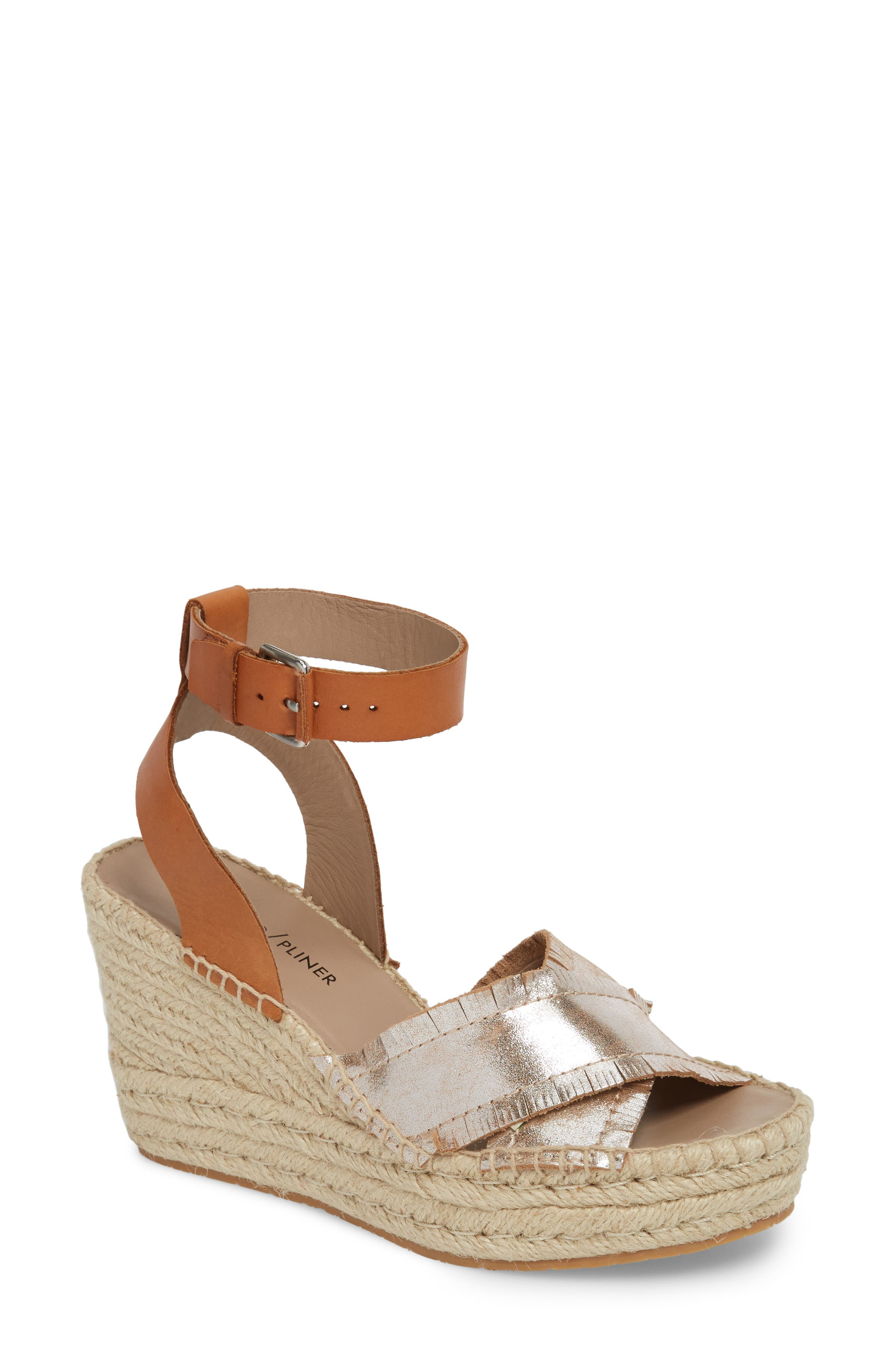 Ines Espadrille Wedge Sandal,                         Main,                         color, SILVER LEATHER