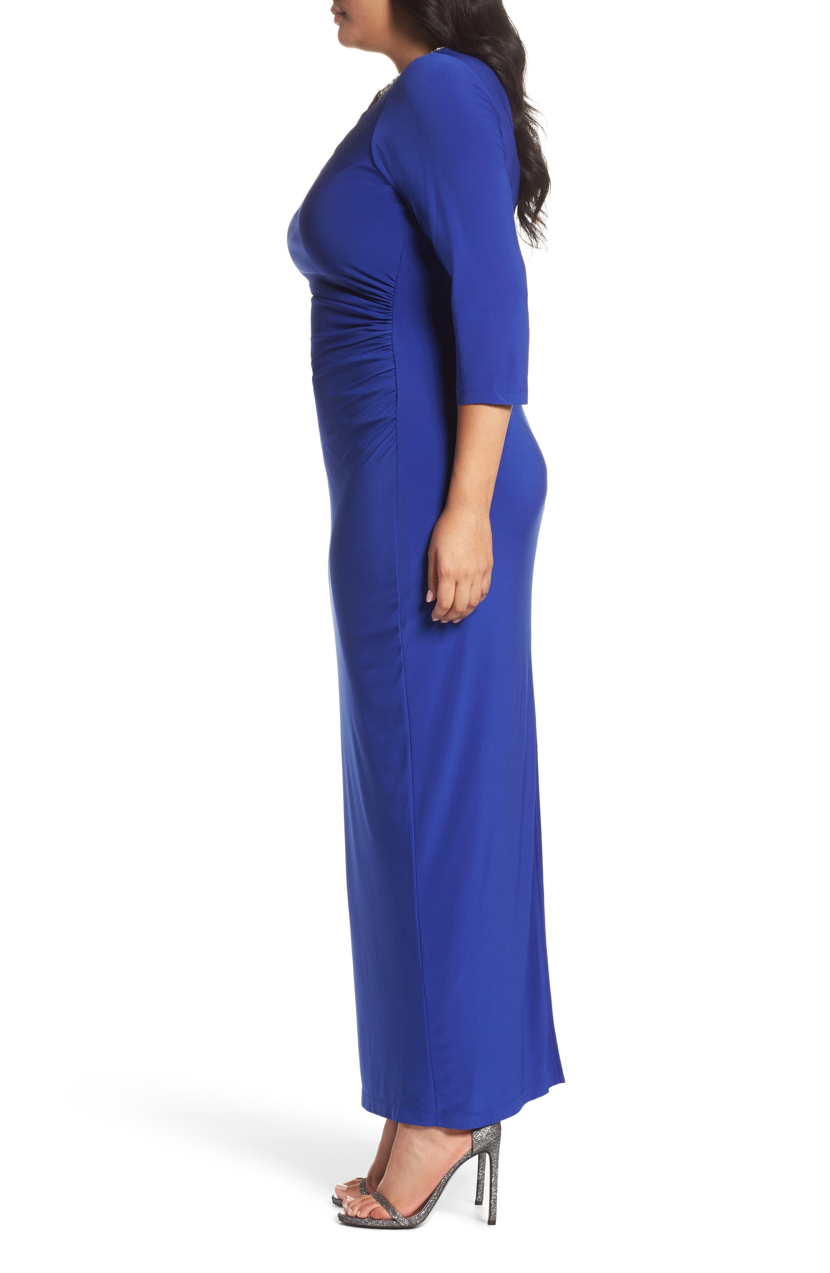 Embellished Neck Matte Jersey Gown,                             Alternate thumbnail 6, color,