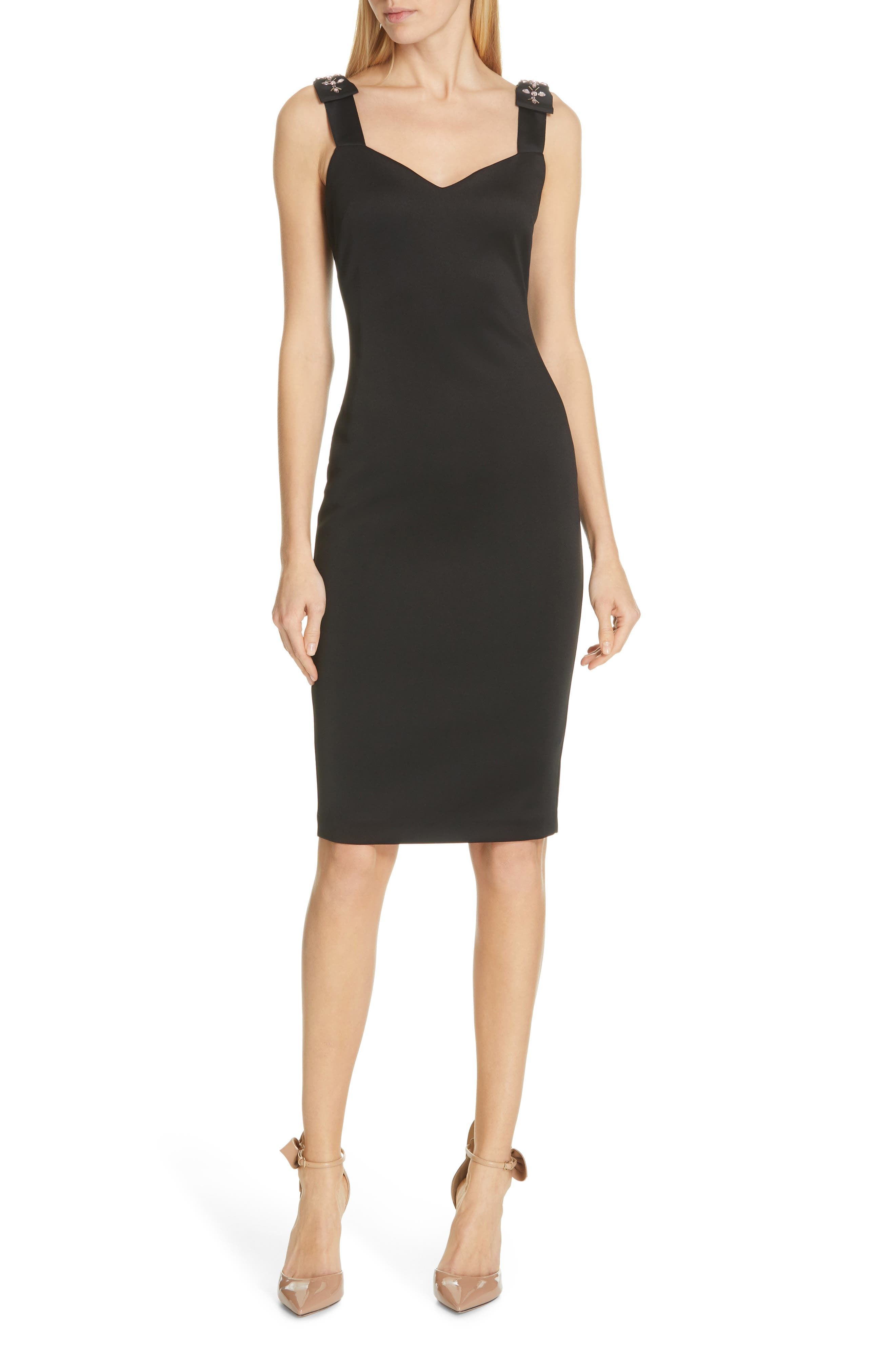 Ted Baker London Nancila Jewel Shoulder Sheath Dress, Black