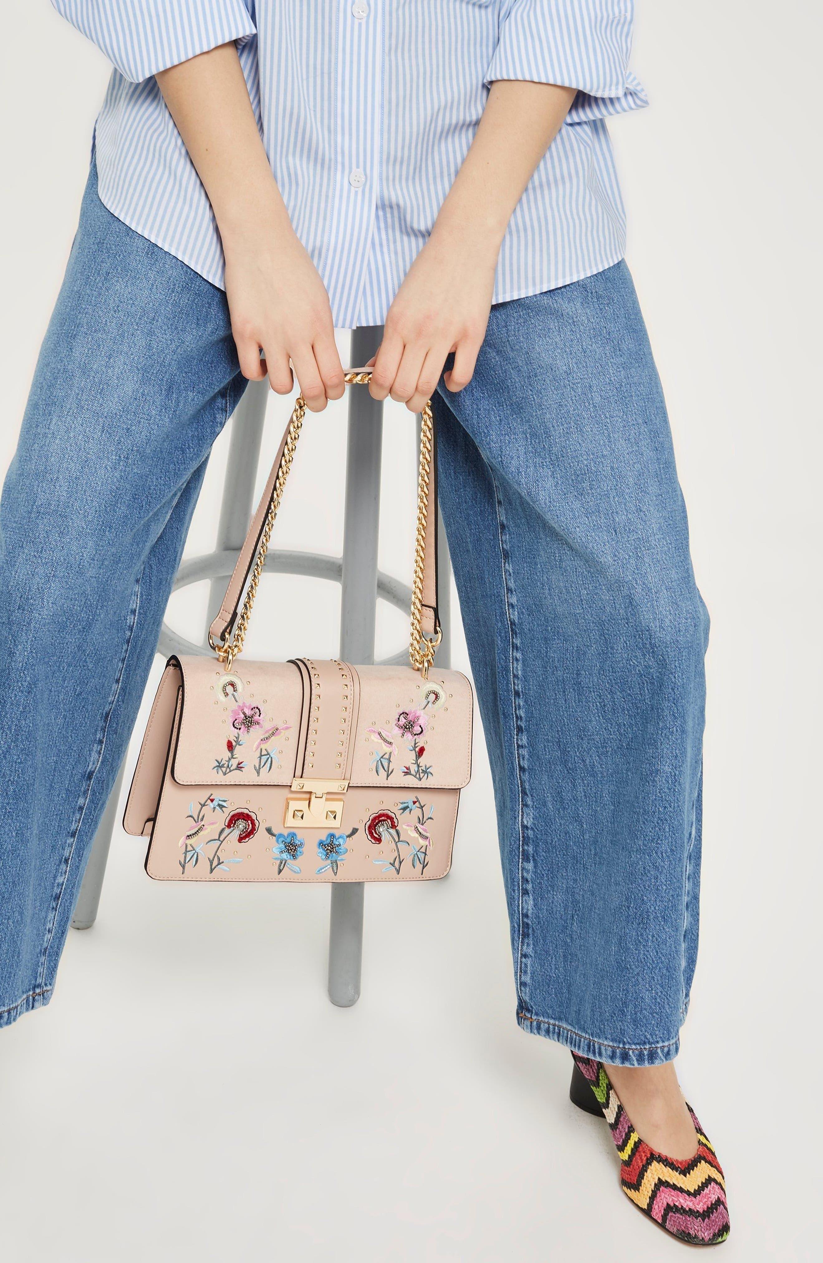 Darcy Floral Shoulder Bag,                             Alternate thumbnail 10, color,                             PINK MULTI