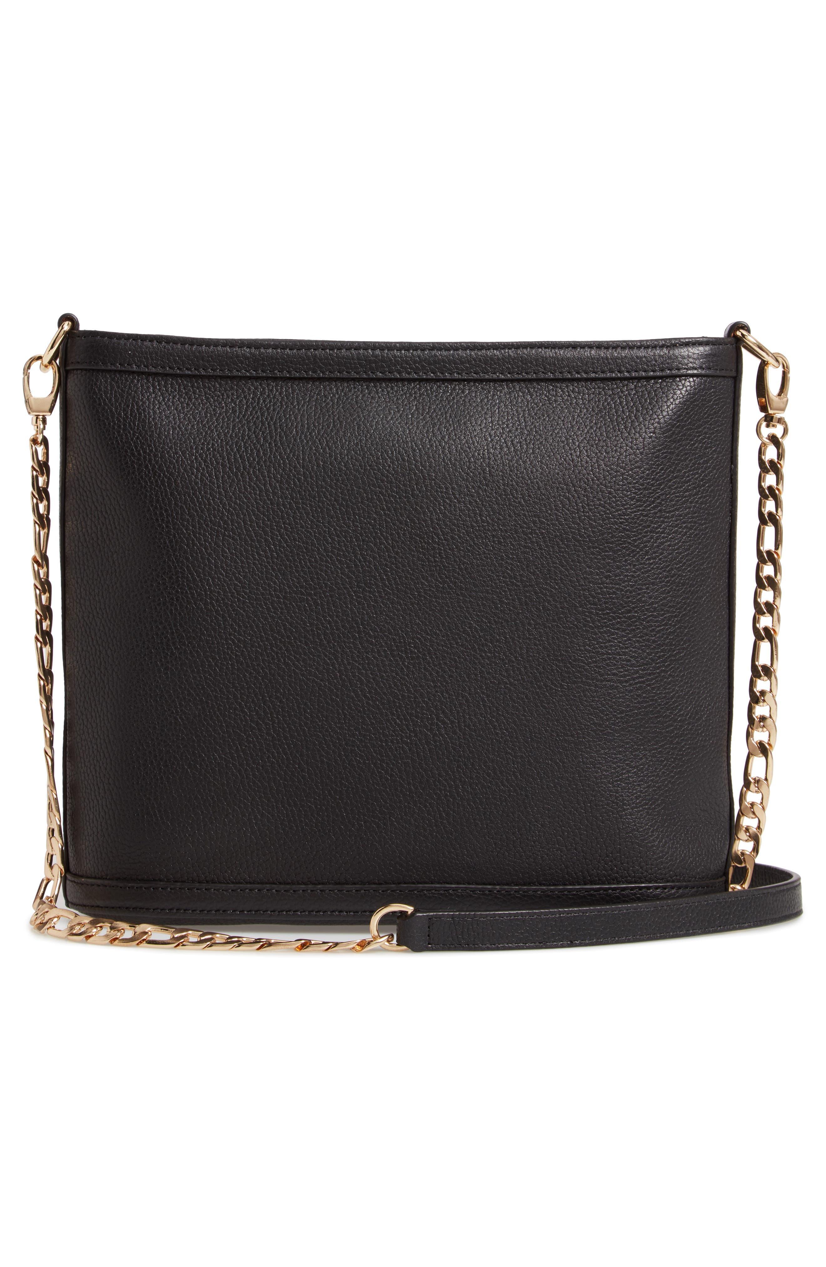Maribel Leather Crossbody Bag,                             Alternate thumbnail 3, color,                             BLACK