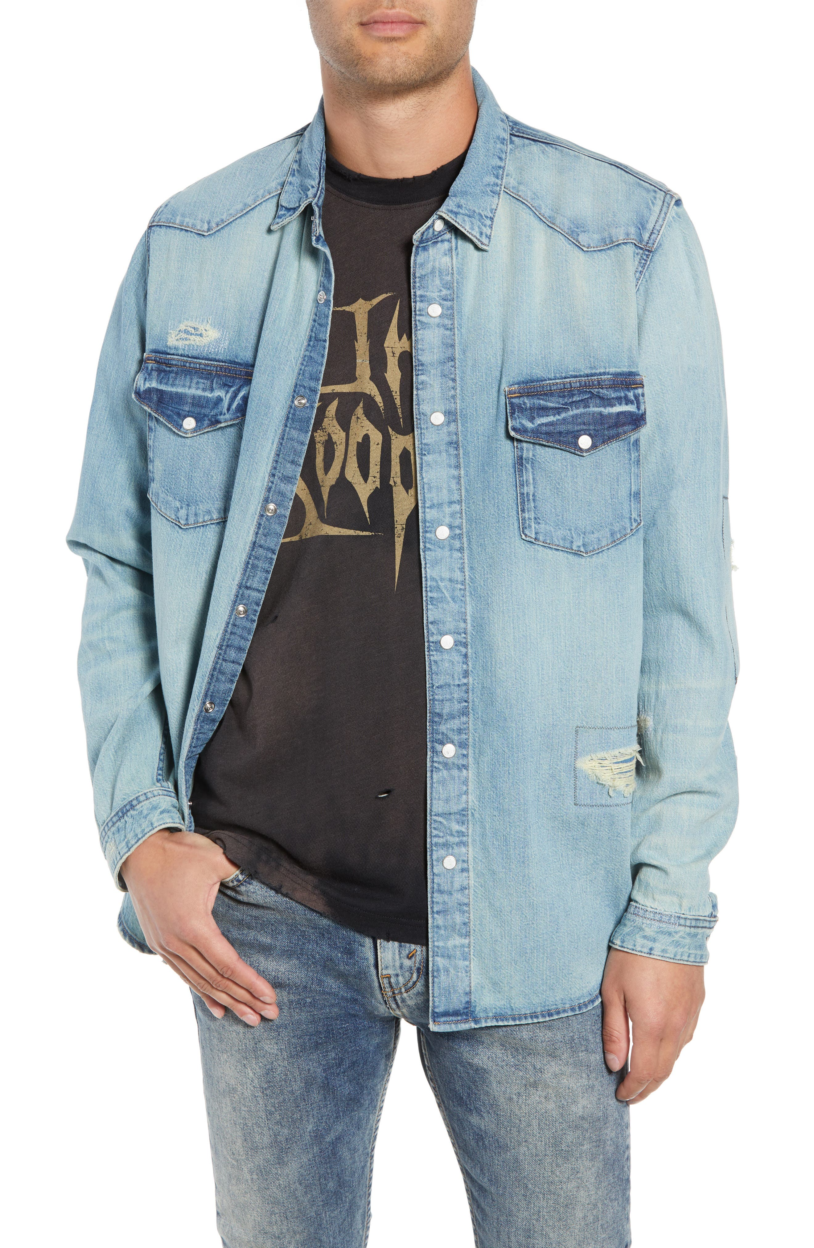 Western Denim Sport Shirt,                             Main thumbnail 1, color,                             450