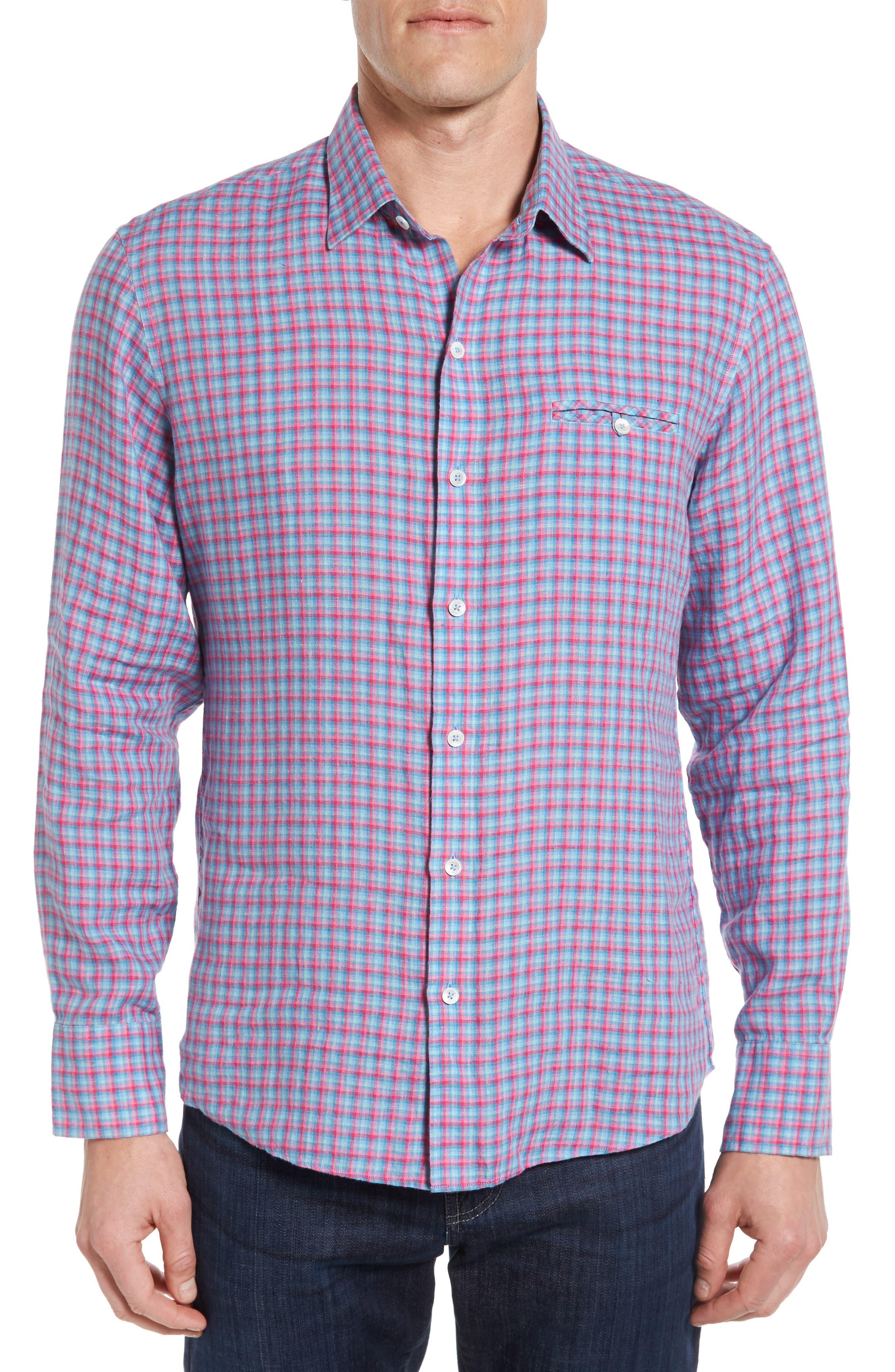 Althoff Plaid Linen Sport Shirt,                             Main thumbnail 1, color,                             PINK